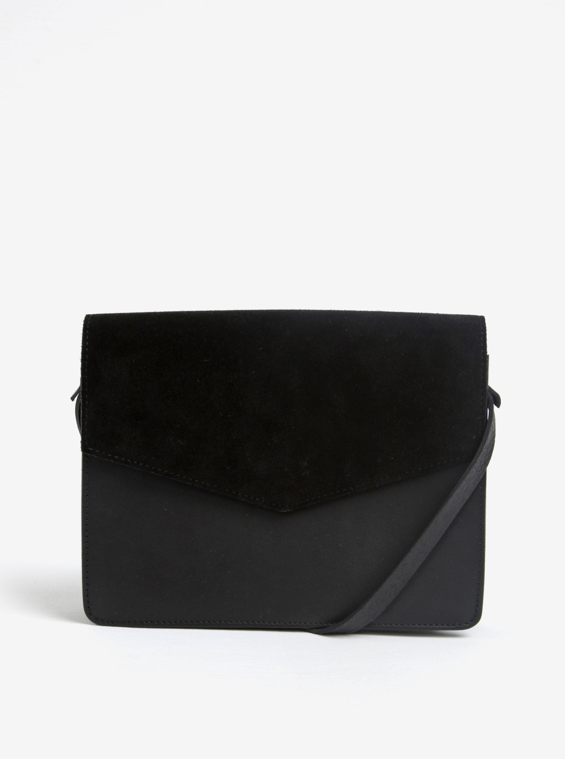 Černá kožená crossbody kabelka Pieces Dolly