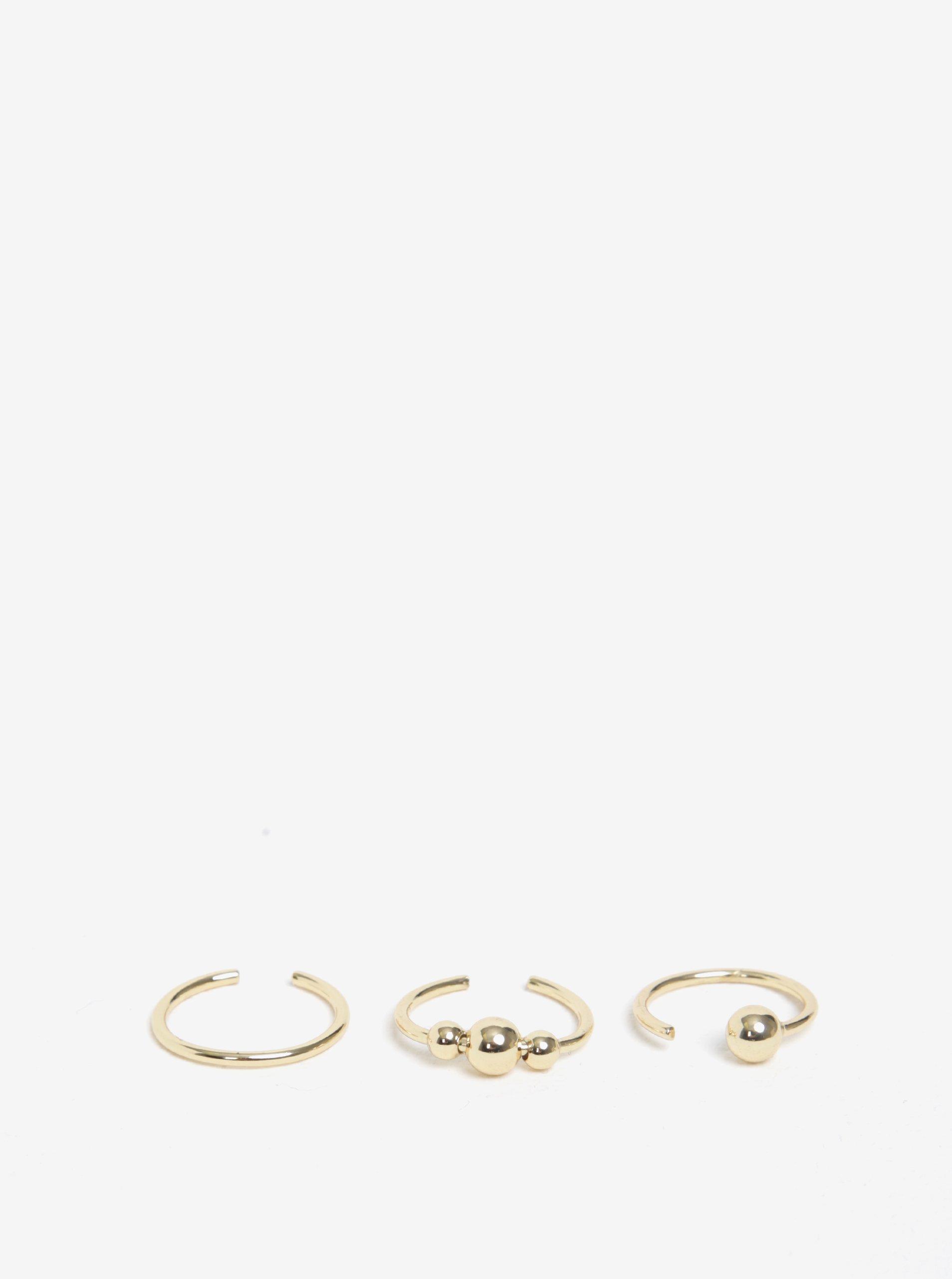 Sada tří prstýnků ve zlaté barvě Pieces Luna