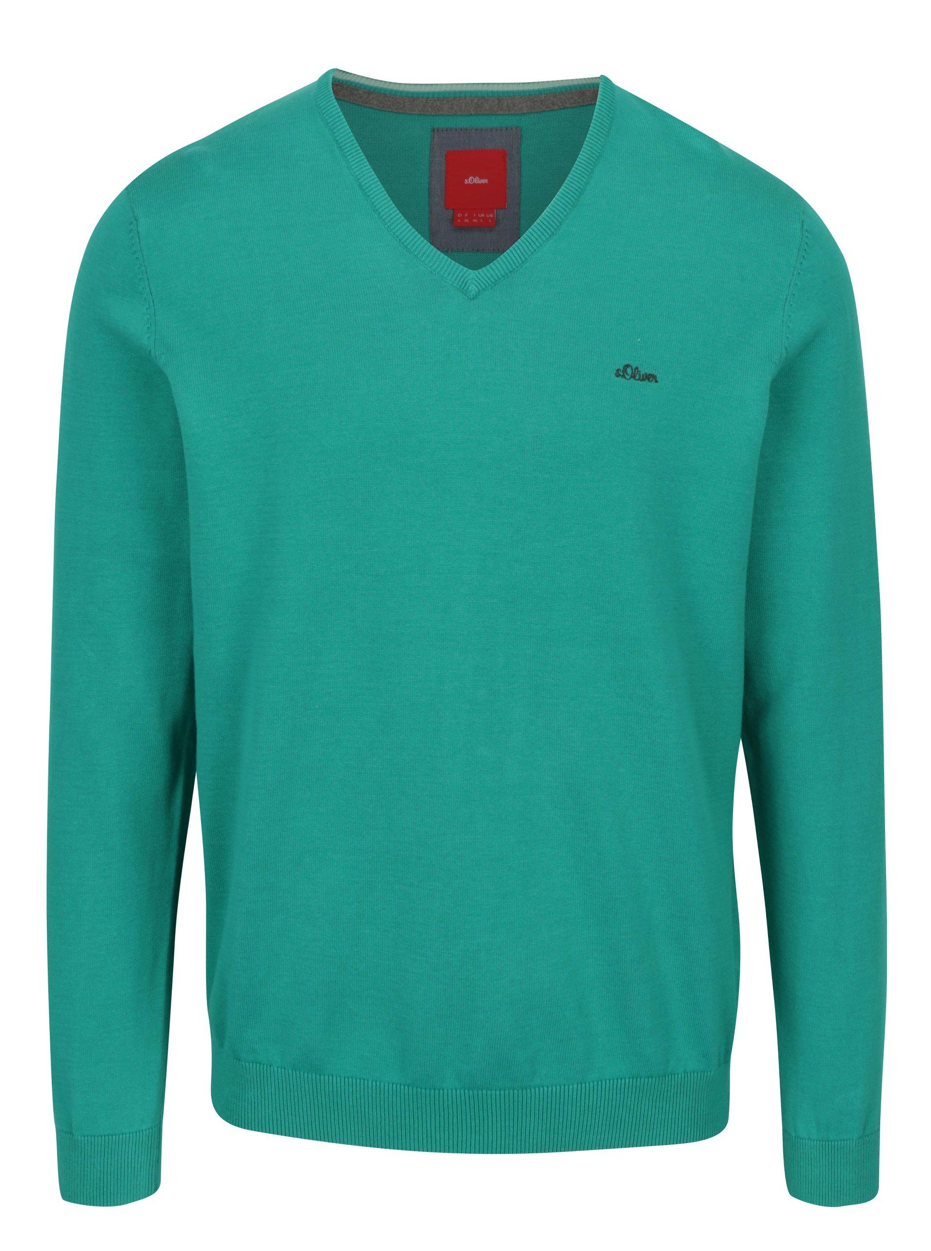 Zelený pánský svetr s véčkovým výstřihem s.Oliver