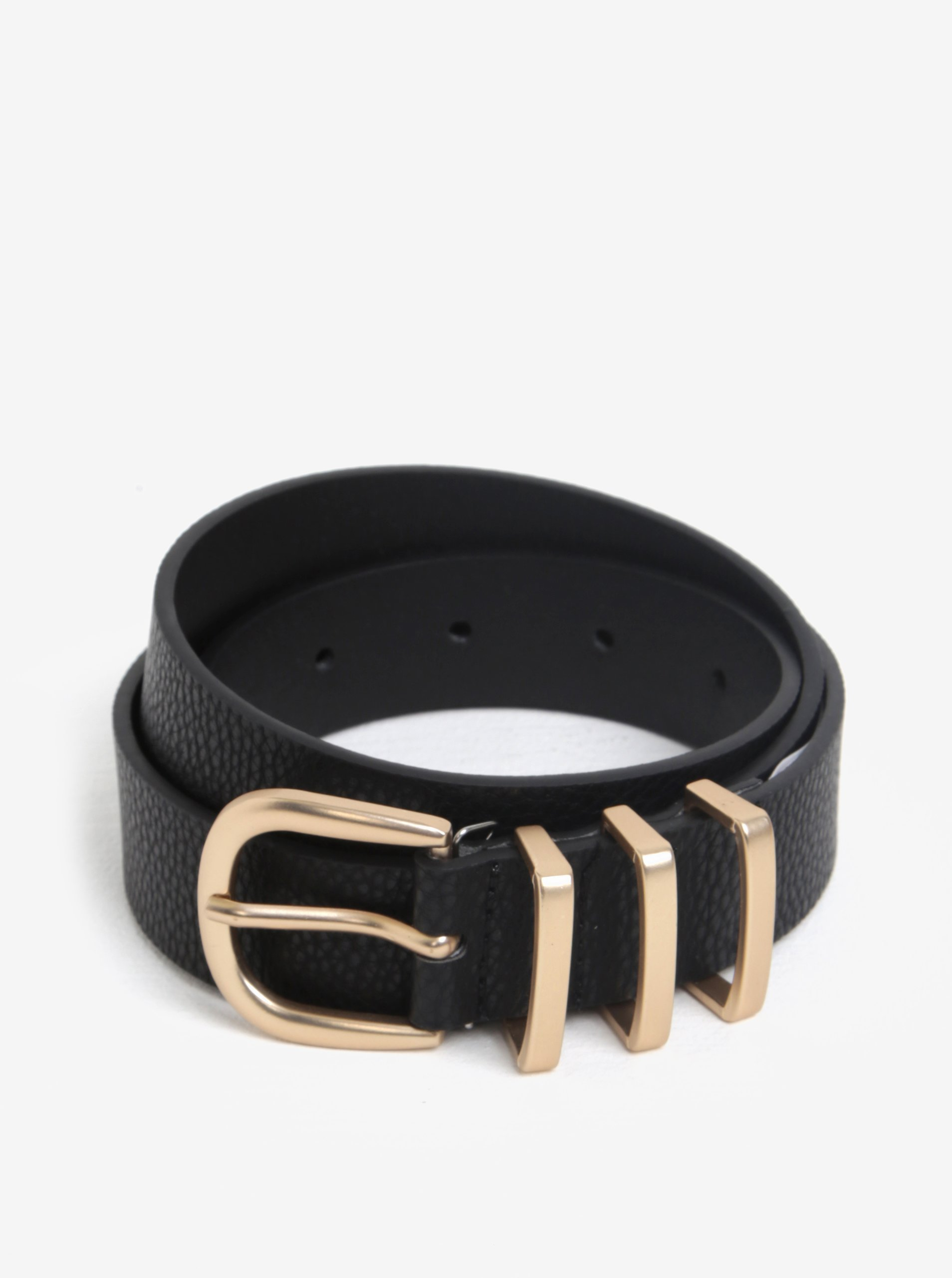 Černý pásek s přezkou ve zlaté barvě Pieces Lea