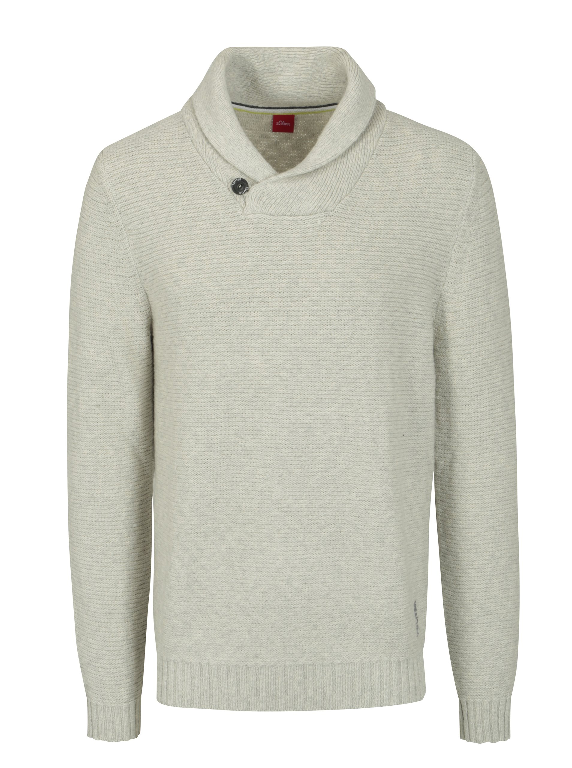 77b7cc61c457 Krémový melírovaný pánsky sveter s golierom s.Oliver