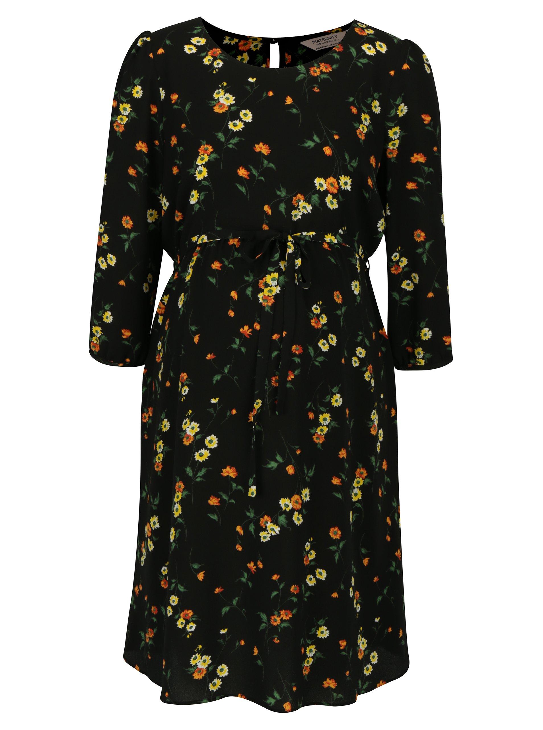 8fb2ddd36e Čierne tehotenské kvetované šaty Dorothy Perkins Maternity