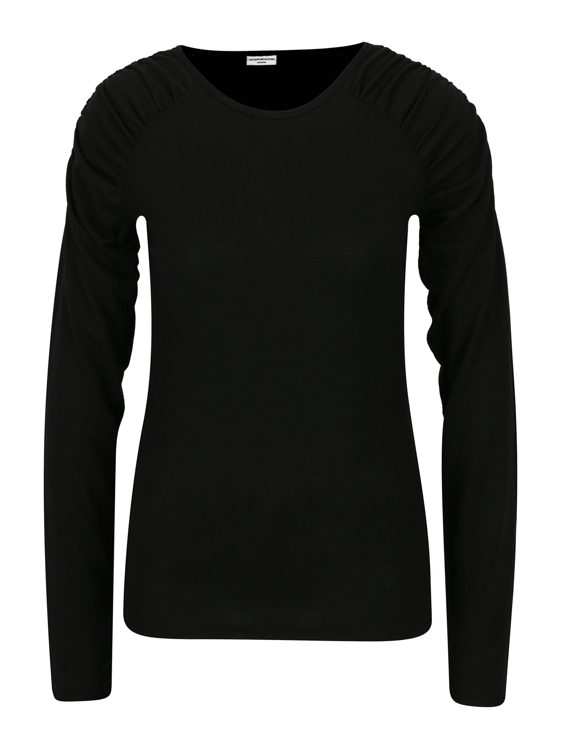 Černé tričko s řasením na ramenou Jacqueline de Yong Adora