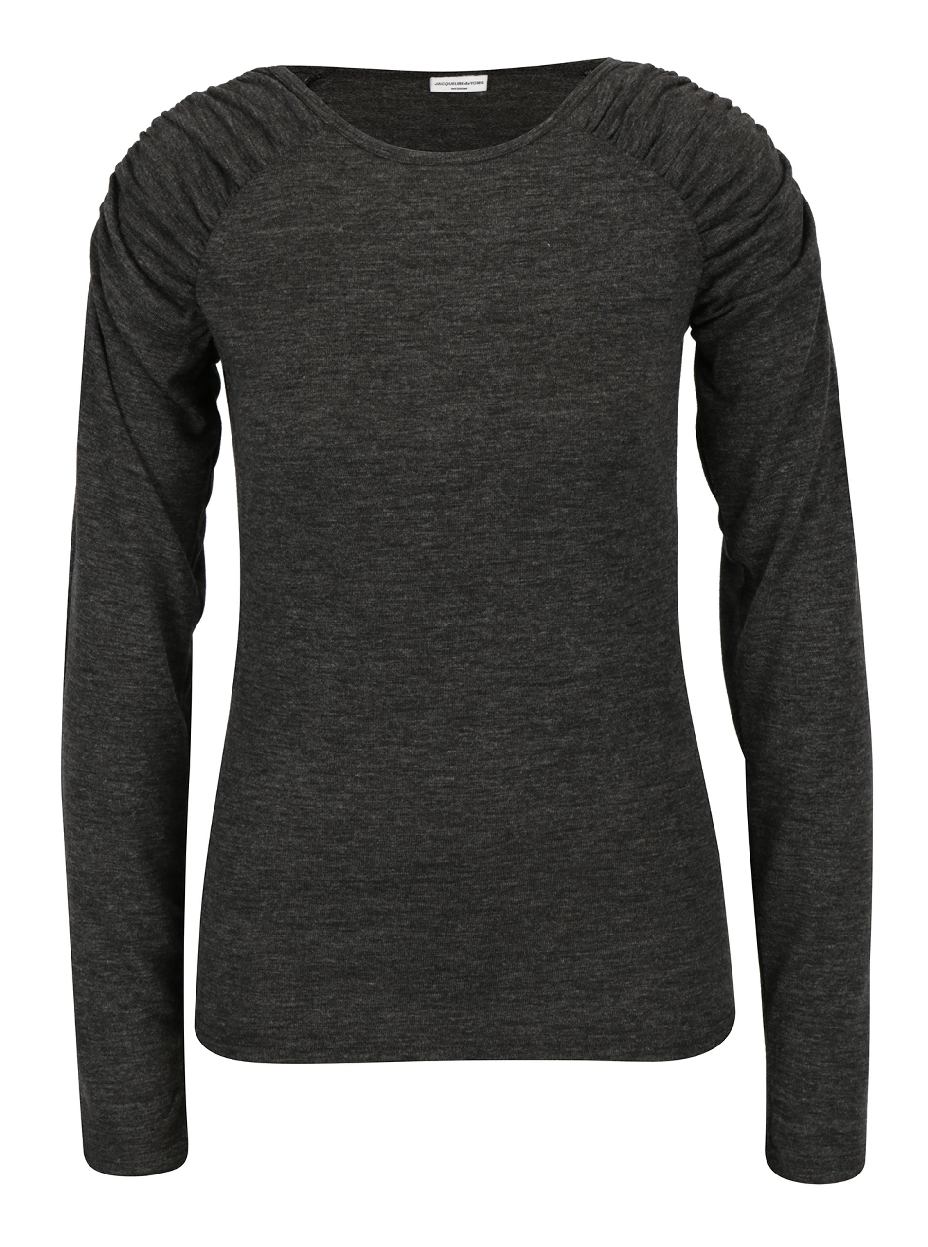 Tmavě šedé žíhané tričko s řasením na ramenou Jacqueline de Yong Adora