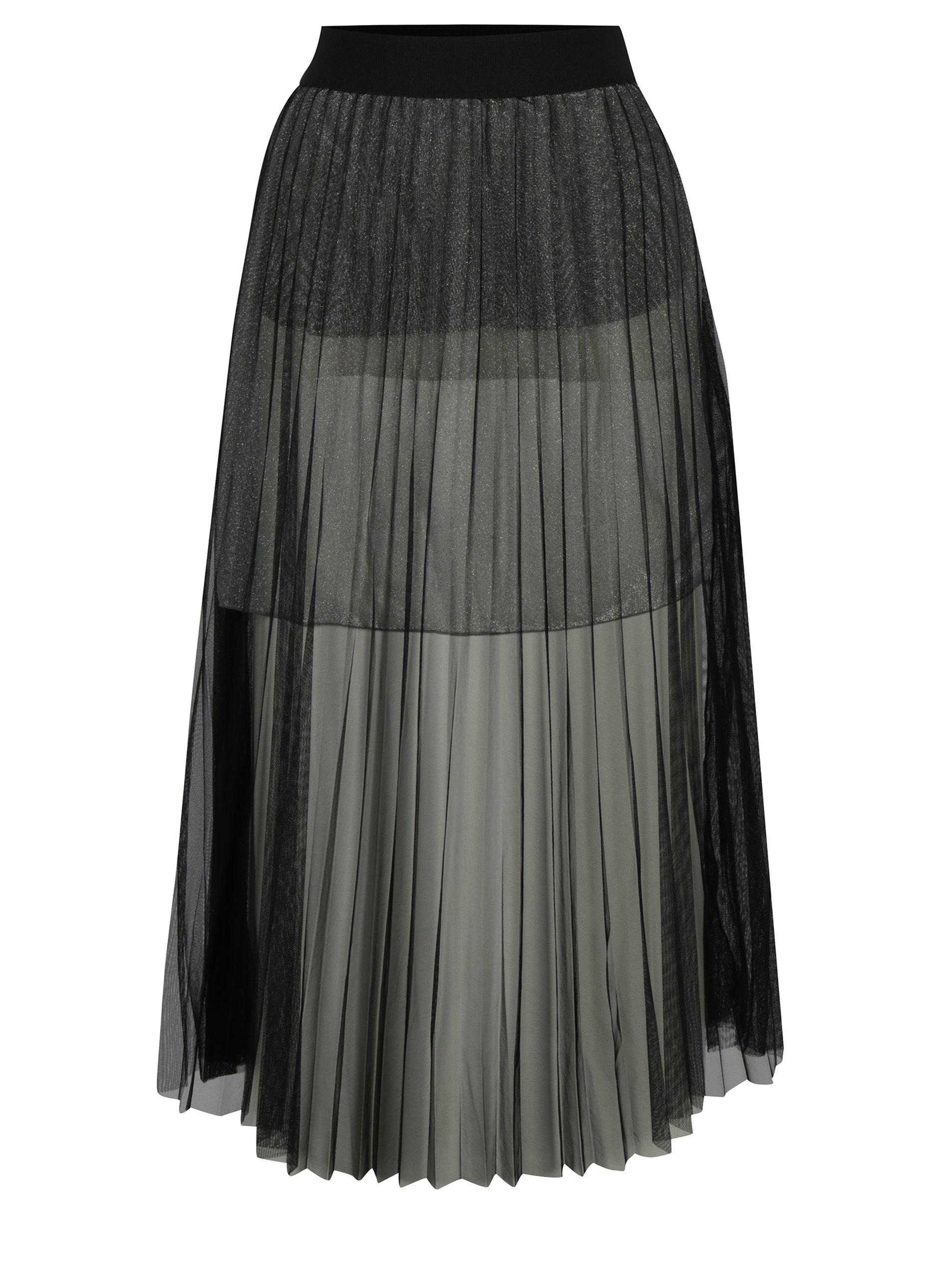 Černá tylová midi sukně French Connection Daphne