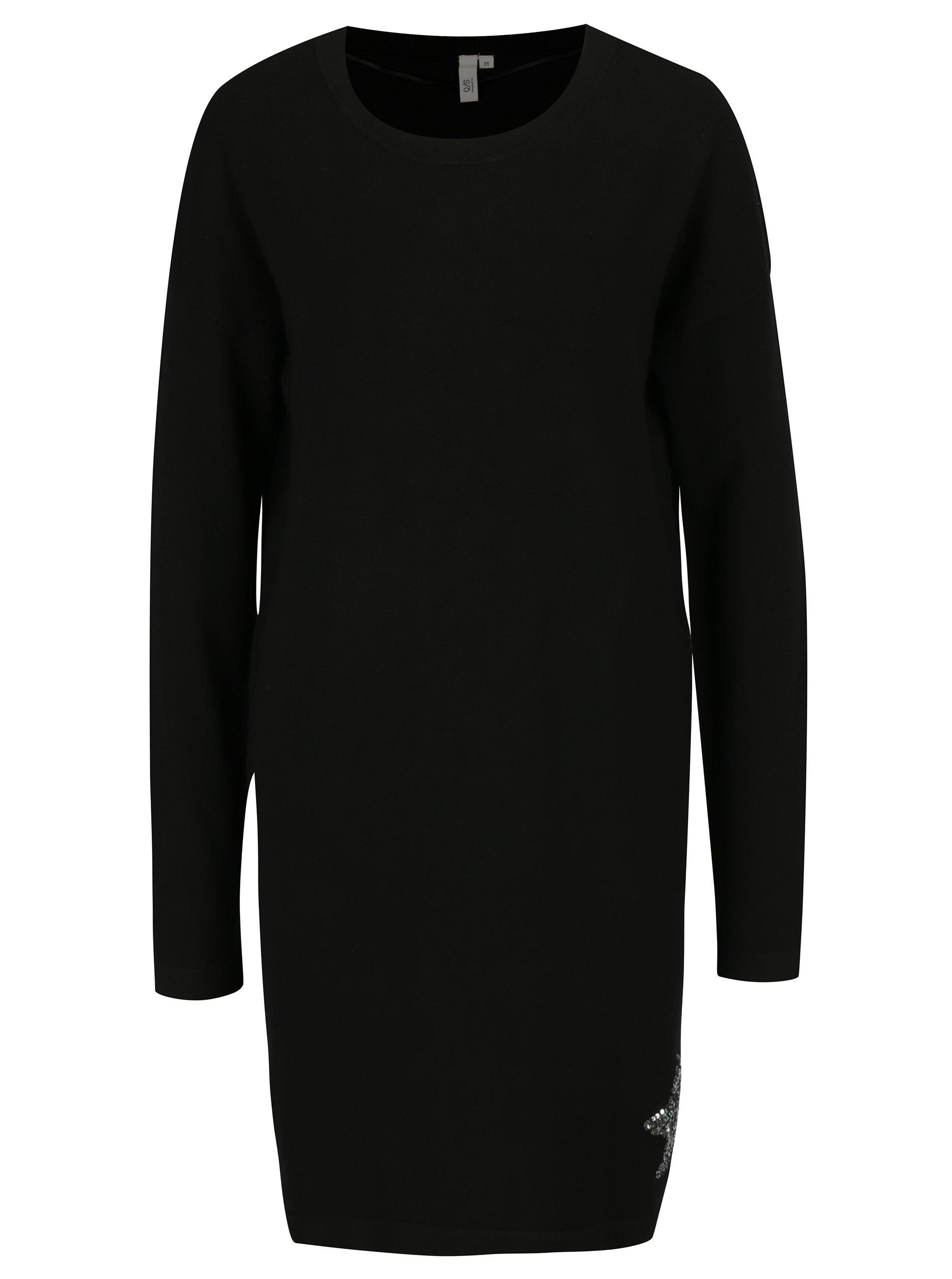 Černé šaty s flitry ve tvaru hvězdy QS by s.Oliver