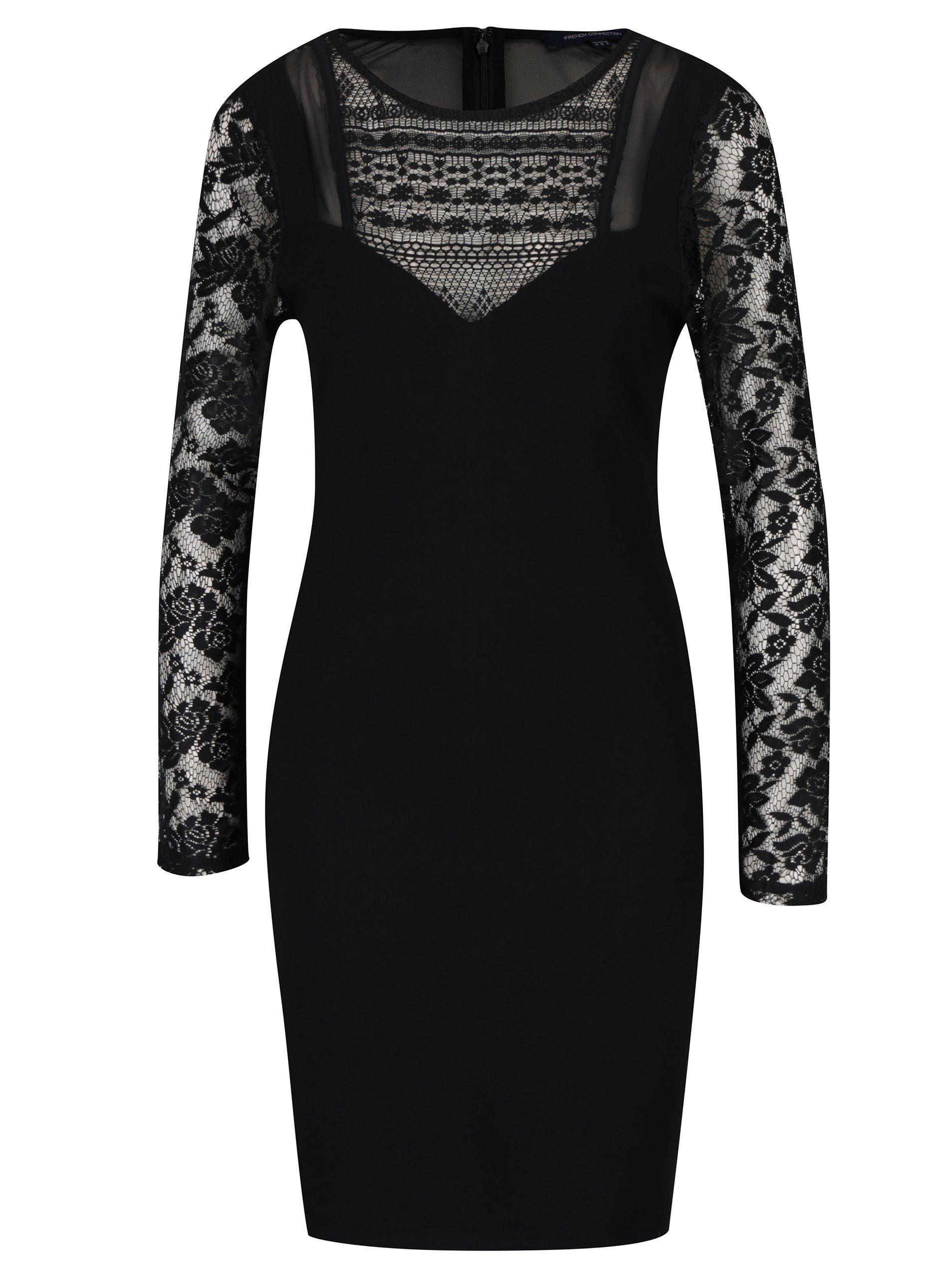 Čierne šaty s čipkou French Connection Mia 288d347caeb
