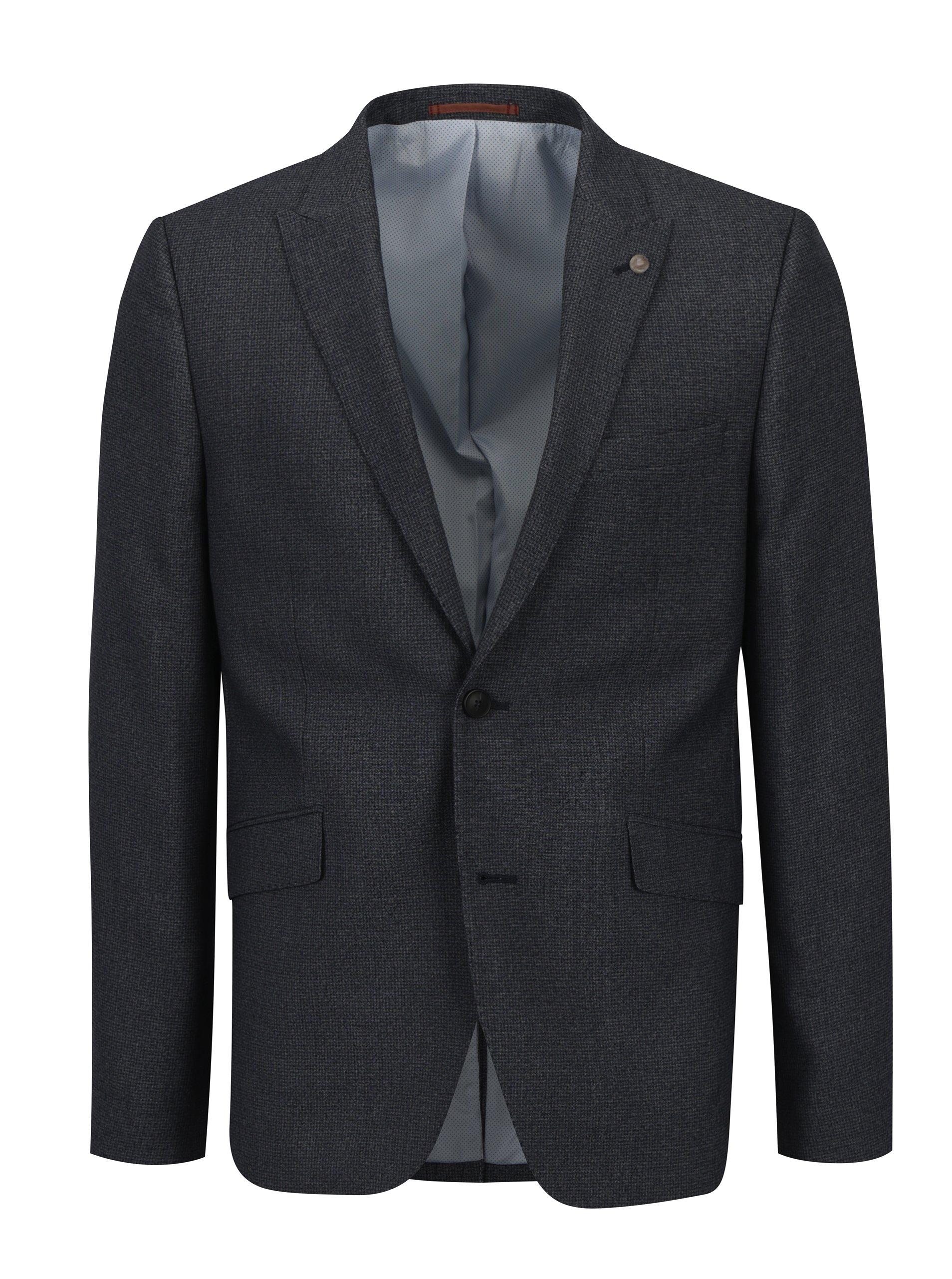 Sivomodré oblekové skinny sako s jemným vzorom Burton Menswear London