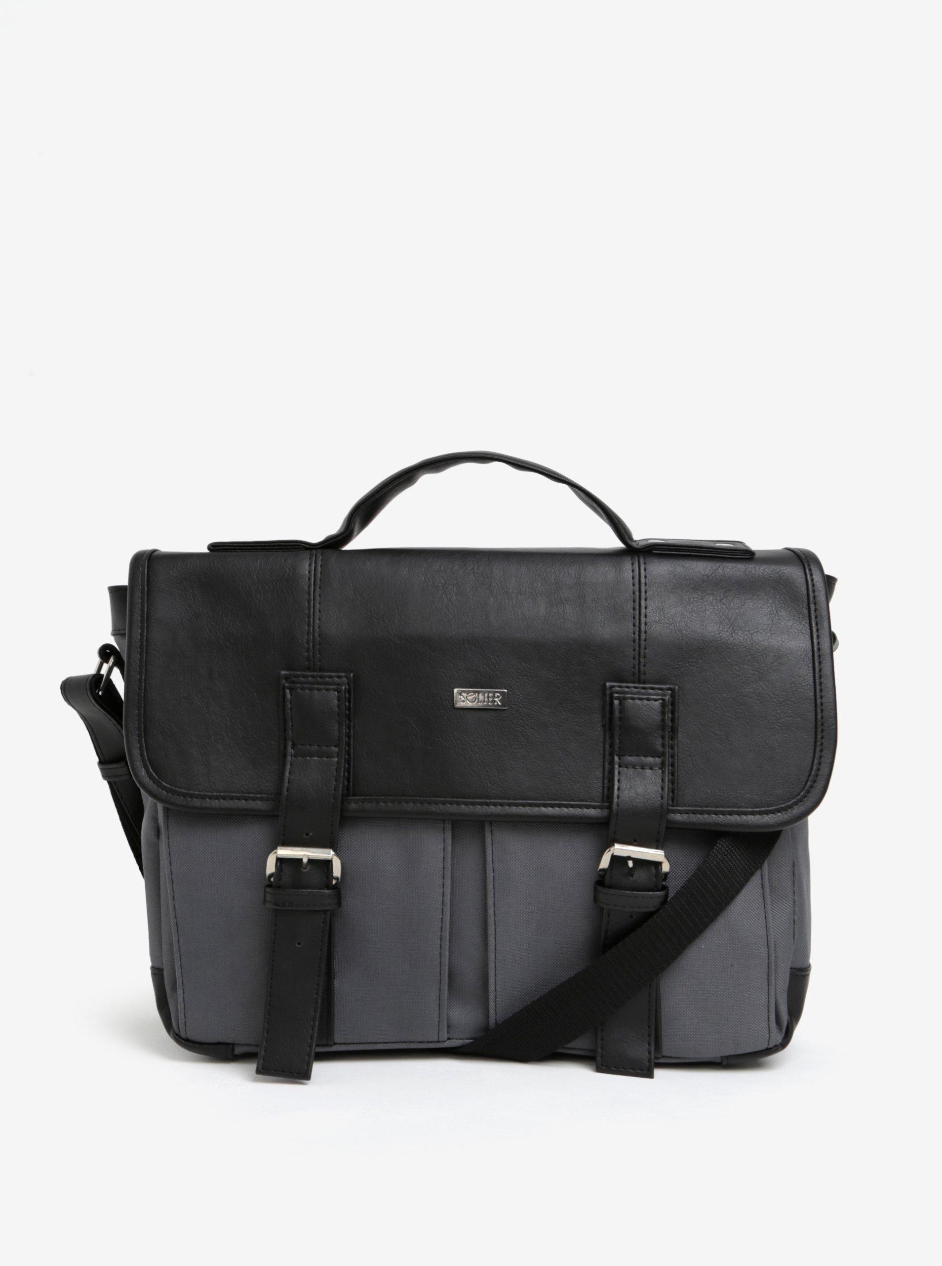 Černo-šedá pánská taška Solier