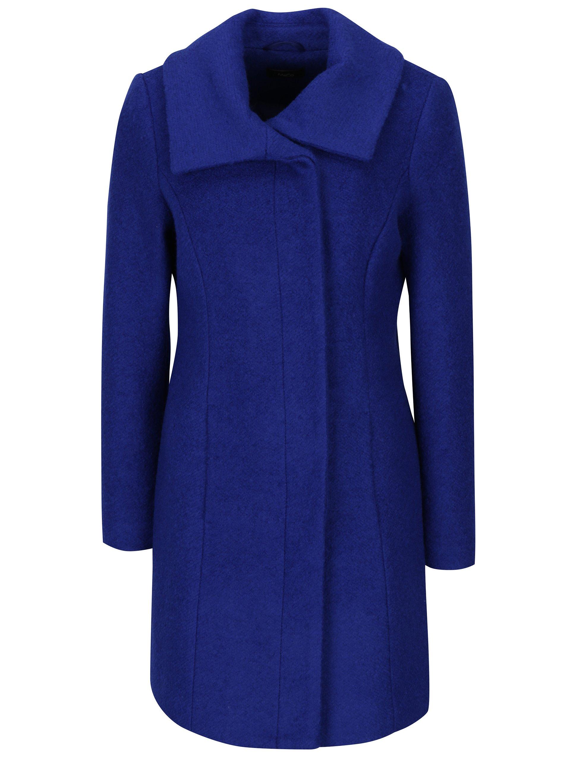 Modrý zimní kabát s příměsí vlny M&Co
