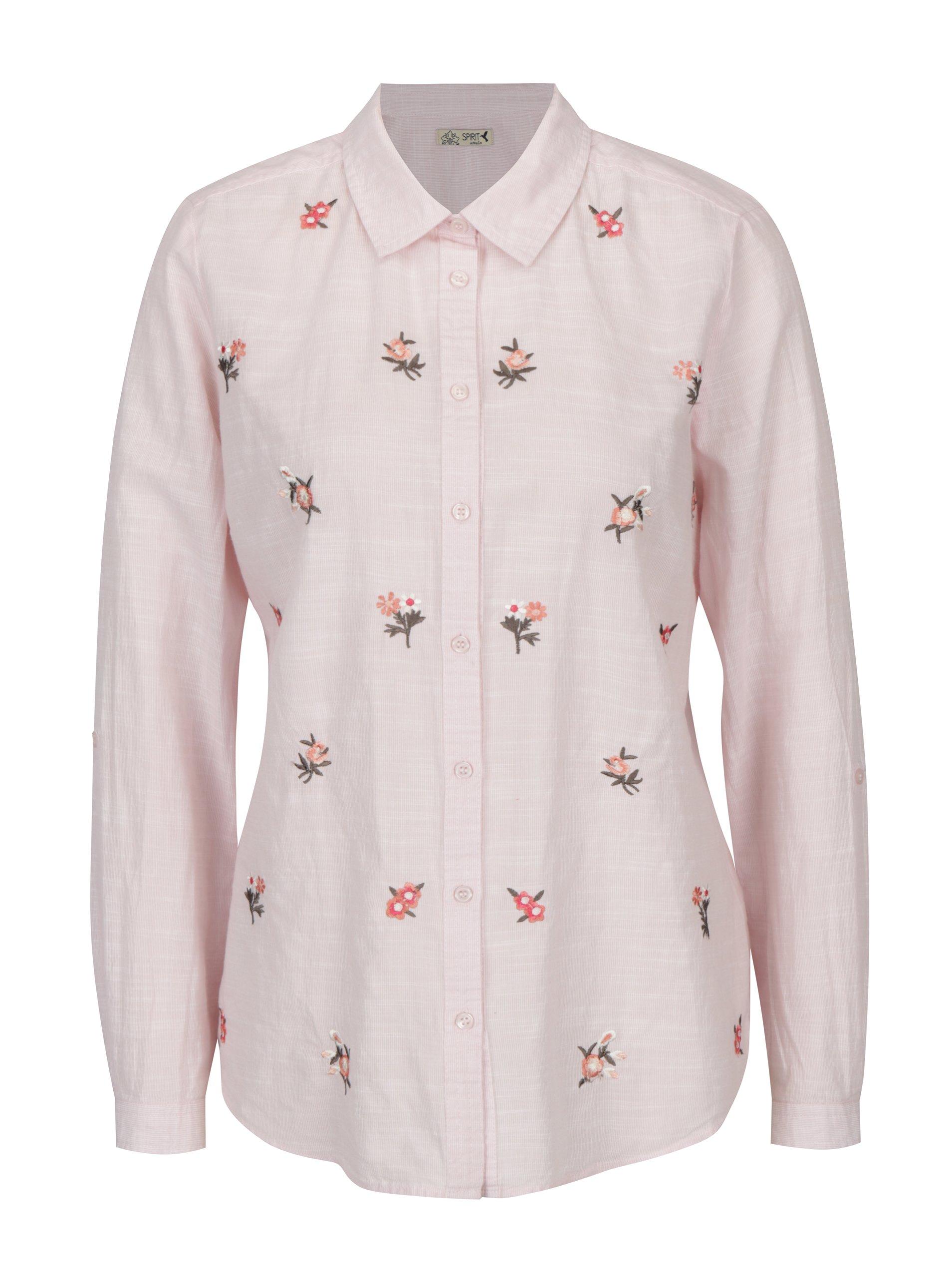 Světle růžová košile s výšivkami M&Co