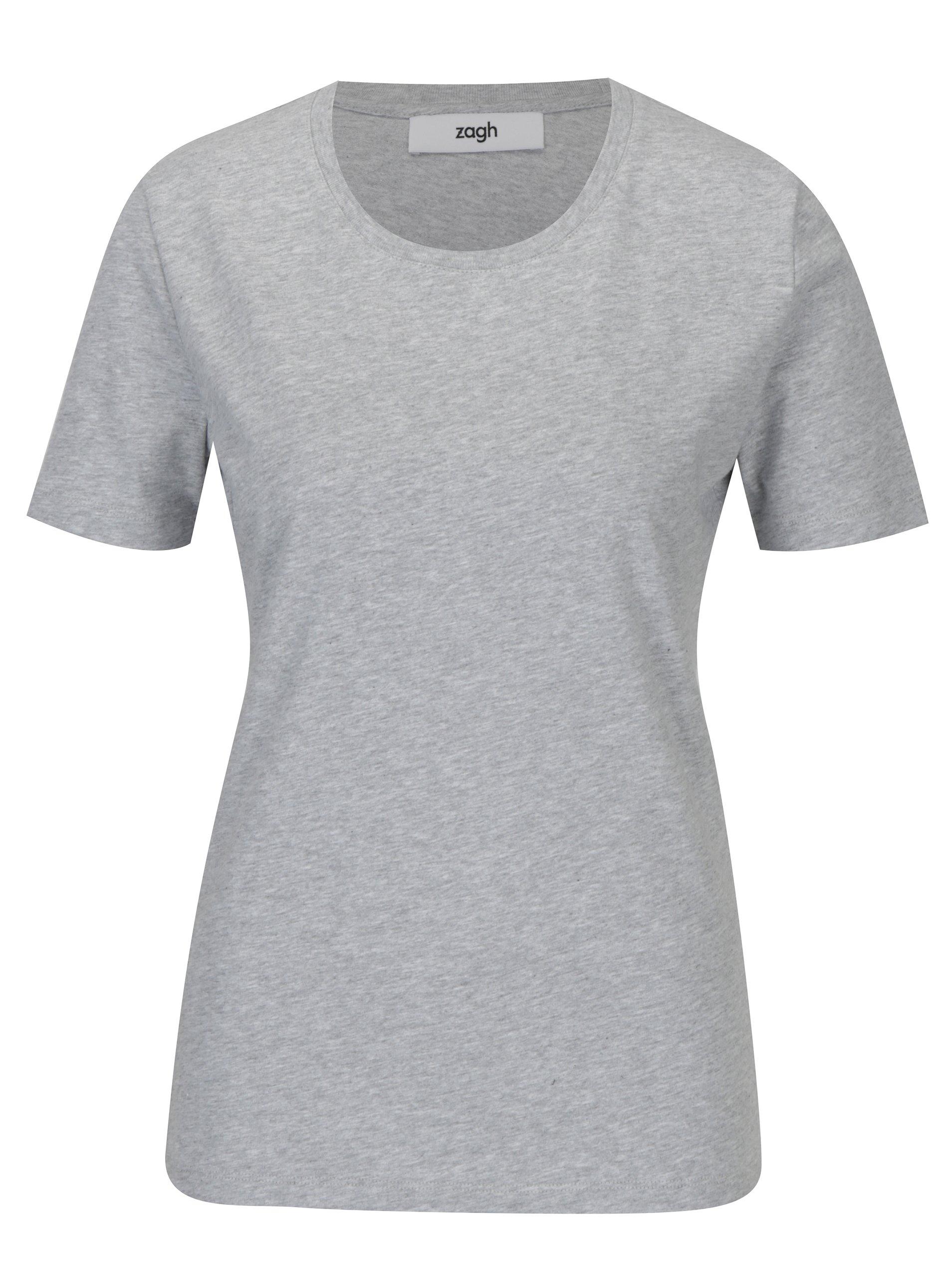 Šedé dámské tričko s kulatým výstřihem Zagh