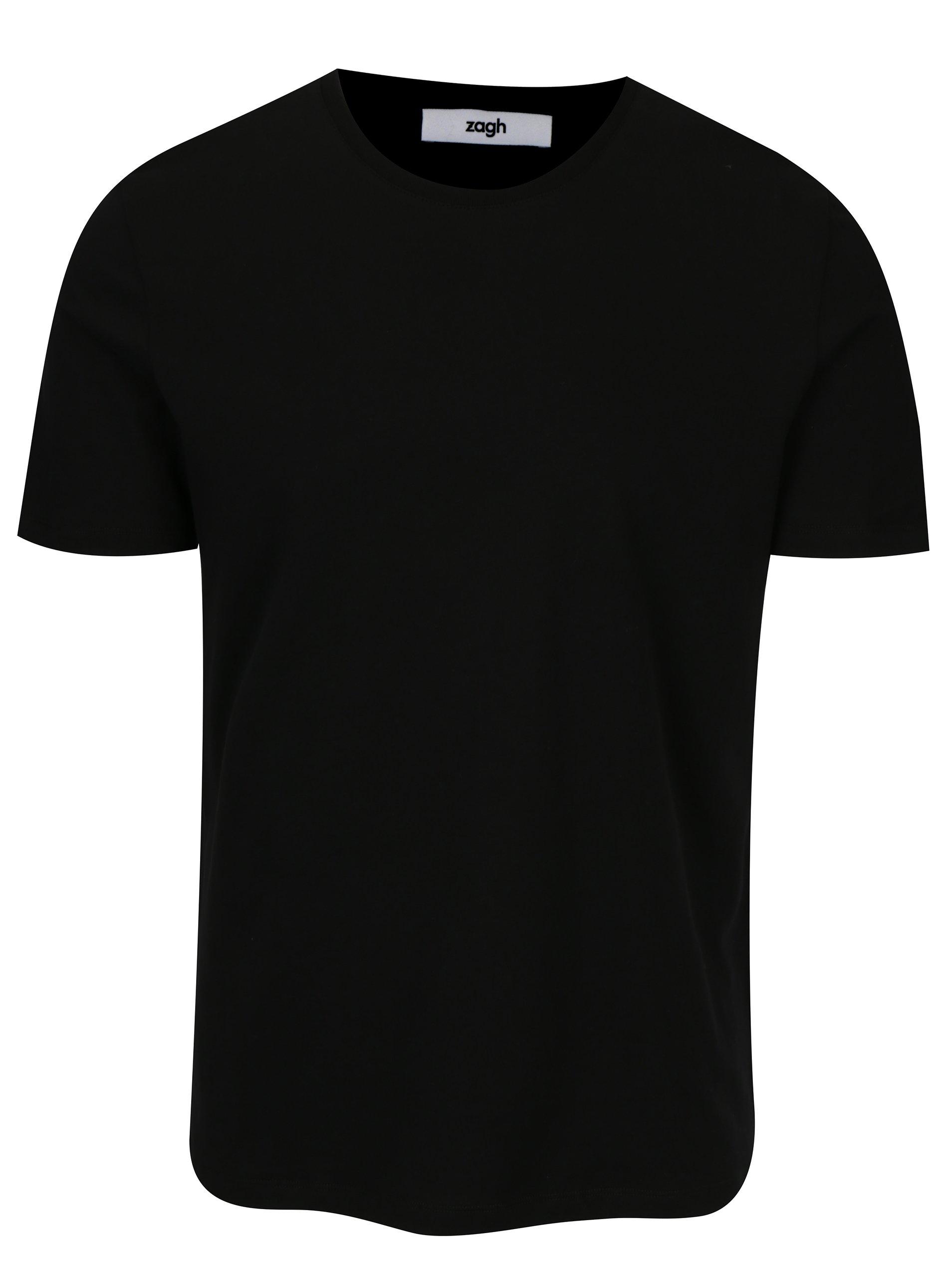 Černé pánské tričko s kulatým výstřihem Zagh