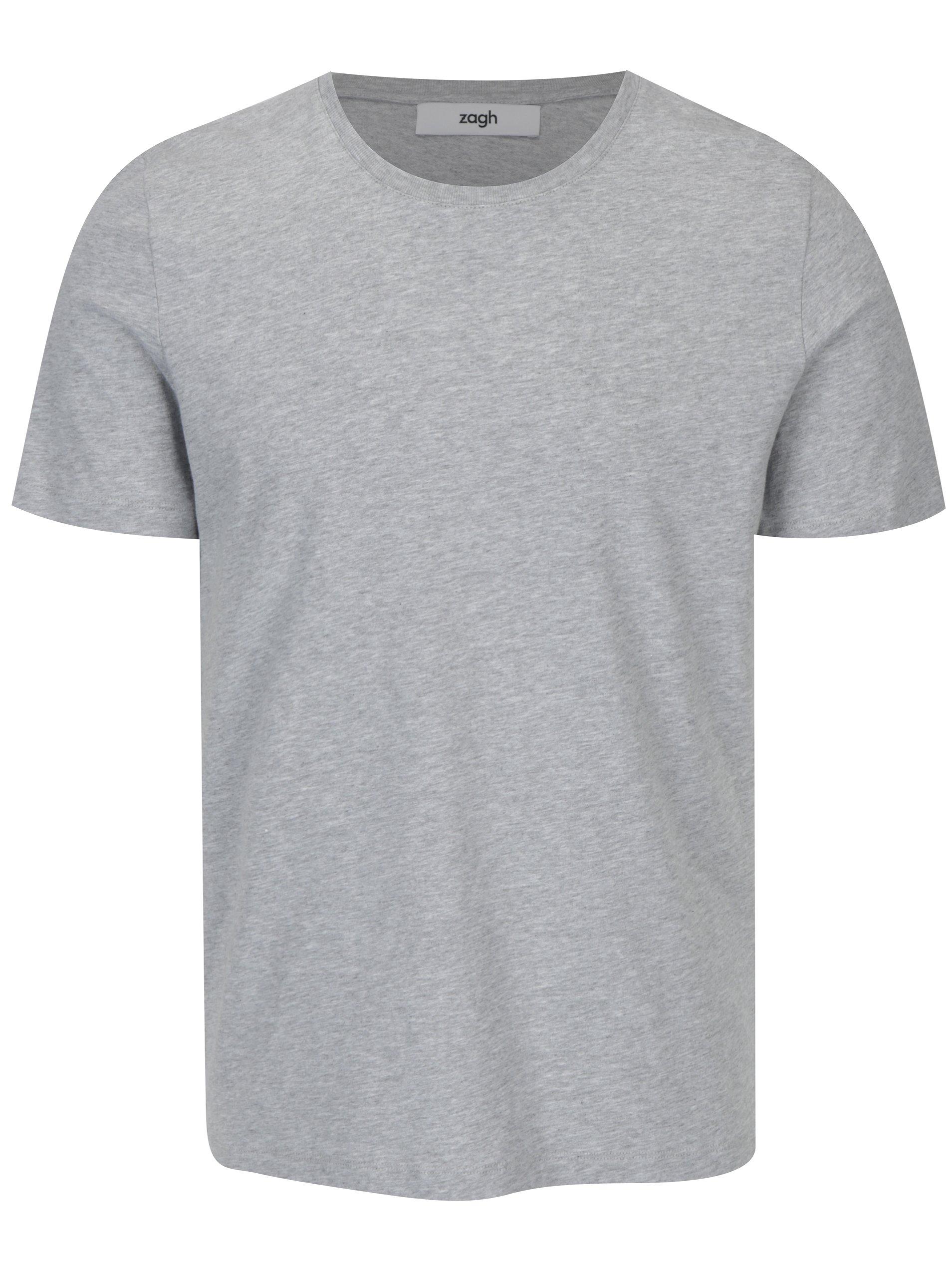 Šedé pánské tričko s kulatým výstřihem Zagh