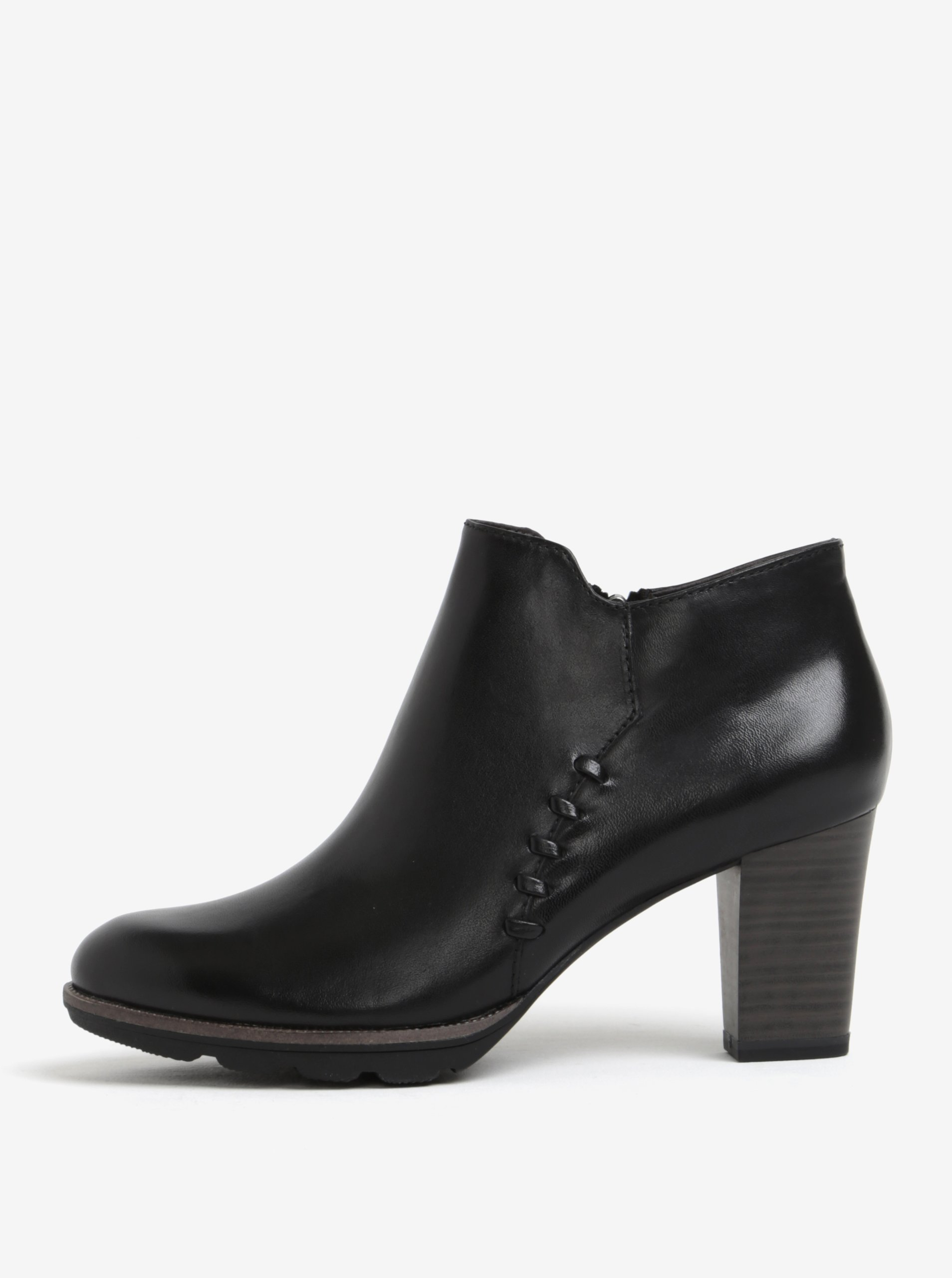 Černé kožené kotníkové boty na podpatku Tamaris