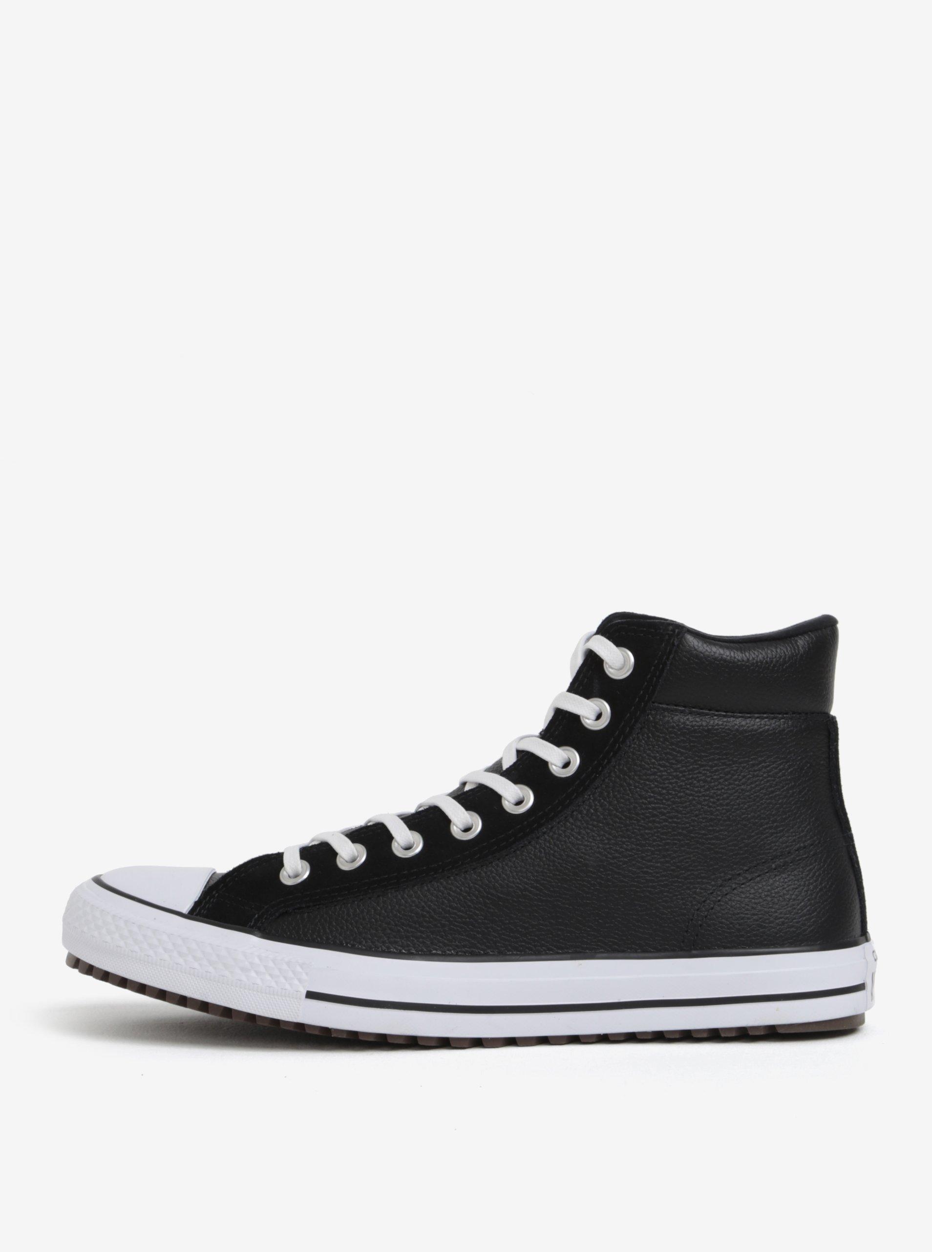d738742bfb6 Čierne pánske členkové kožené tenisky Converse Chuck Taylor