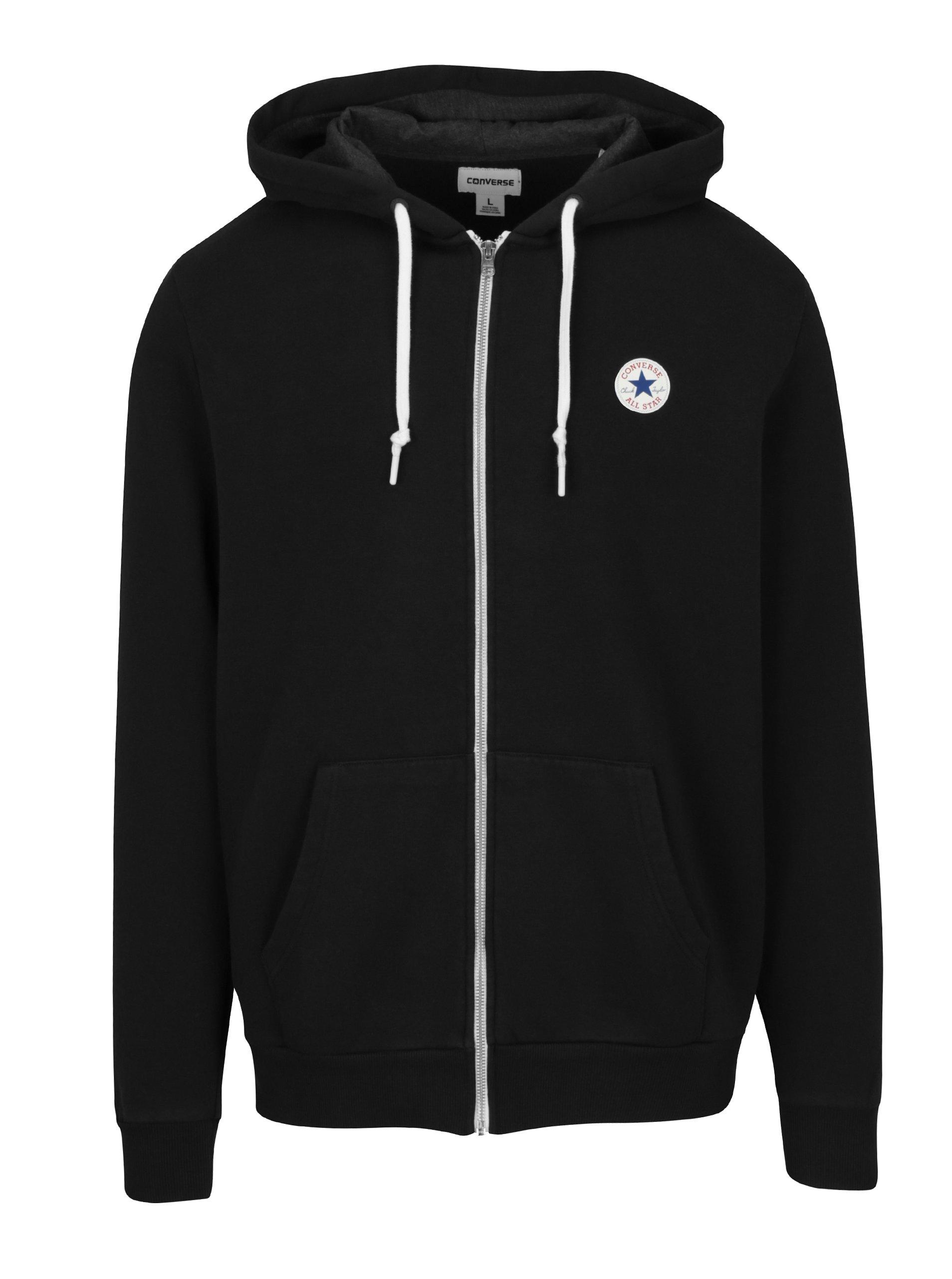 Černá pánská mikina na zip s kapucí Converse Core Full