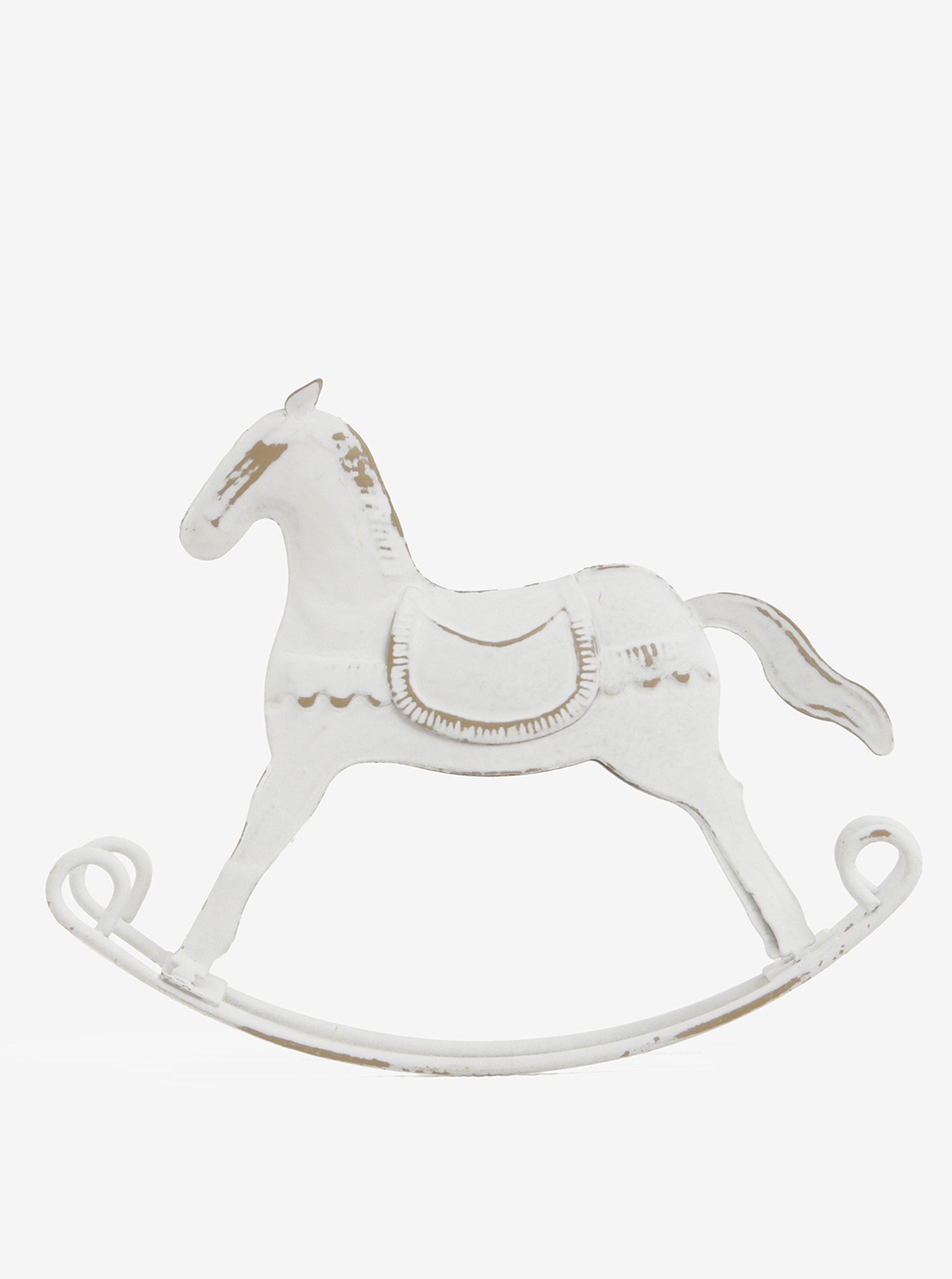 Bílá kovová dekorace ve tvaru houpacího koně Dakls