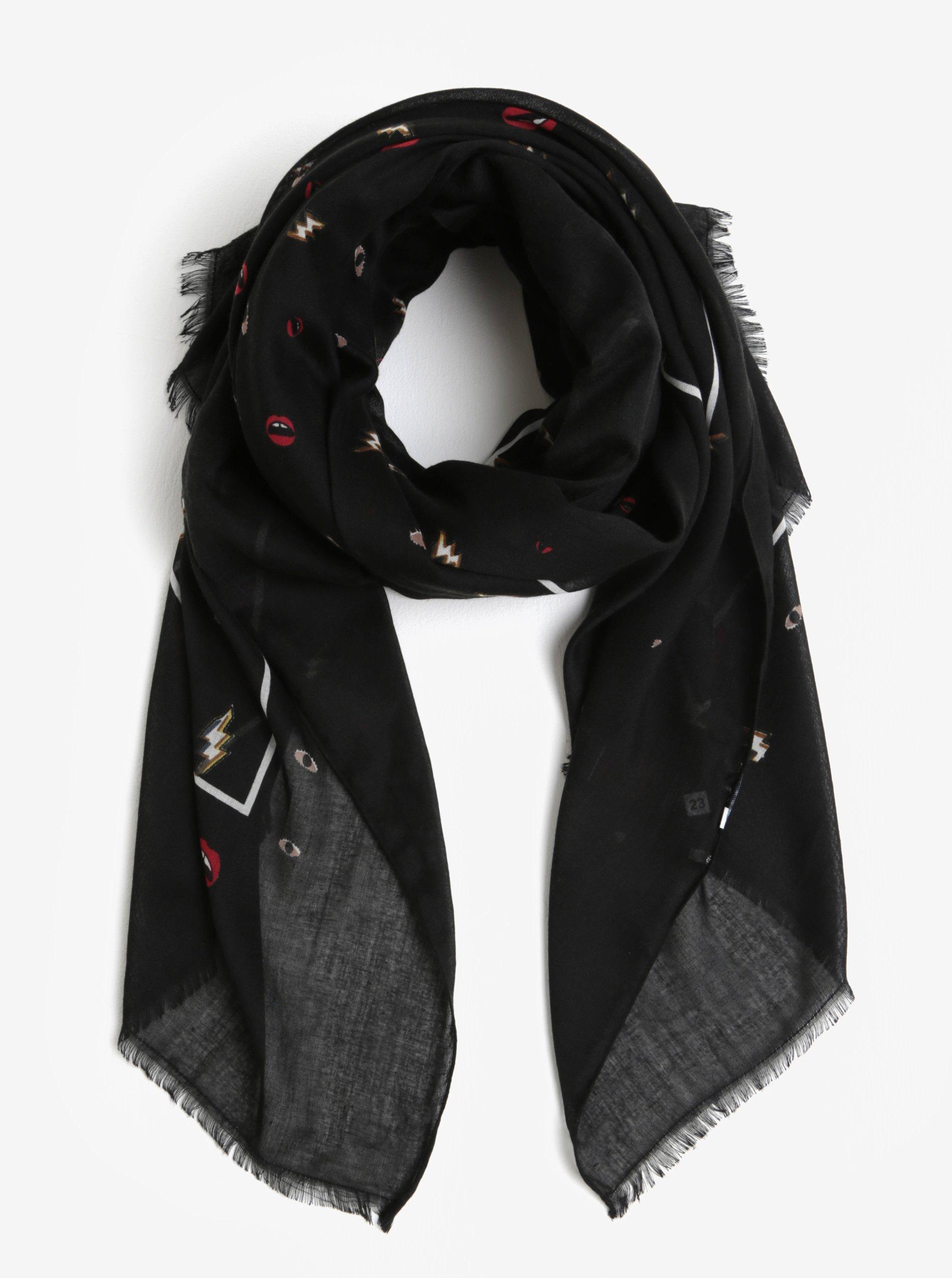 Čierna šatka s drobnými motívmi Pieces Iliana