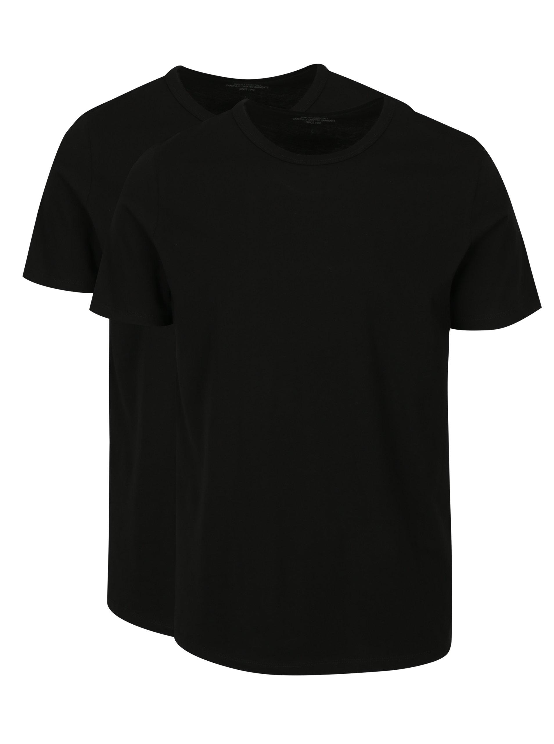 Súprava dvoch čiernych basic tričiek s krátkym rukávom Jack & Jones Basic
