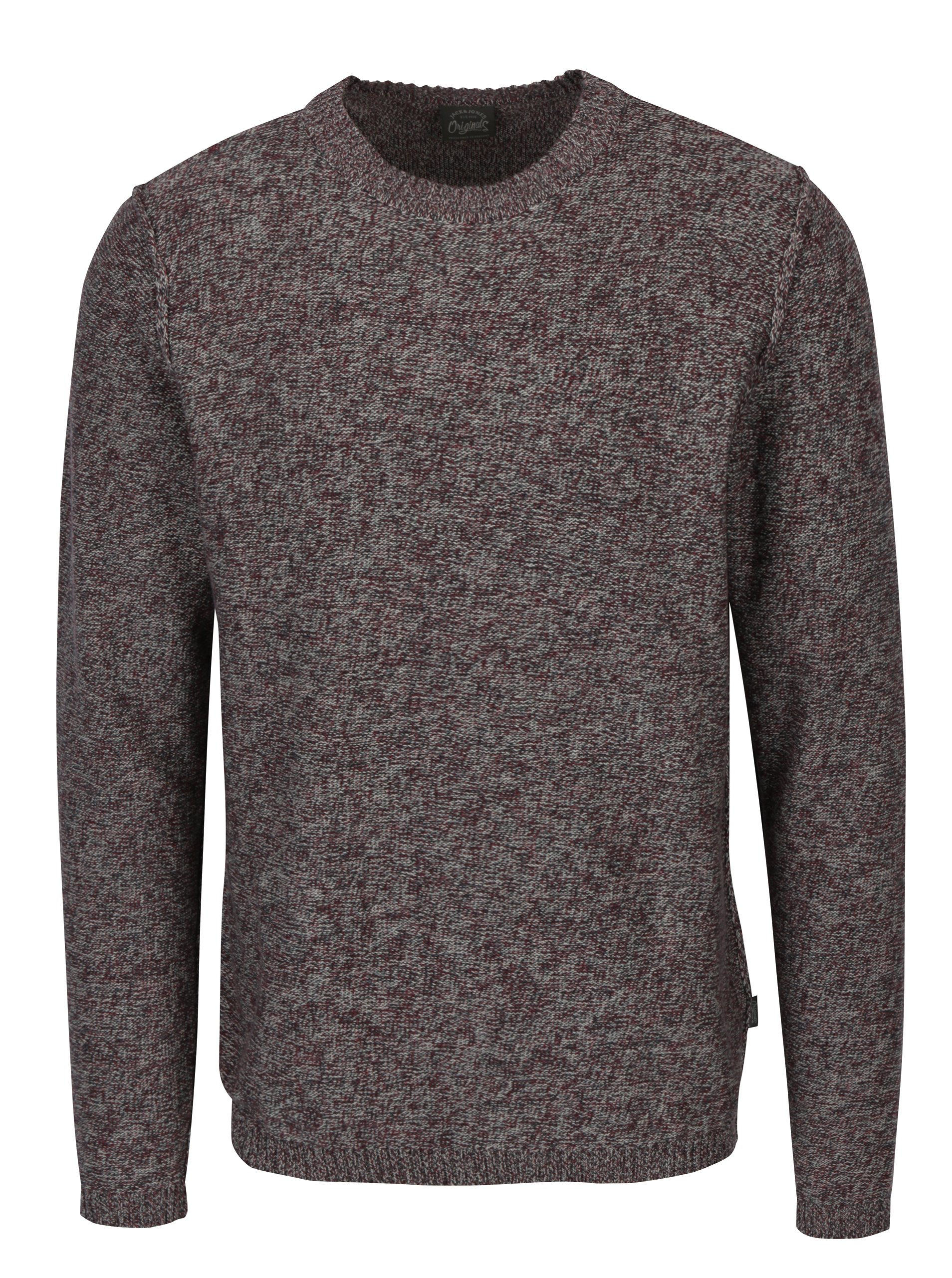 Vínový melírovaný sveter Jack & Jones Originals Uber