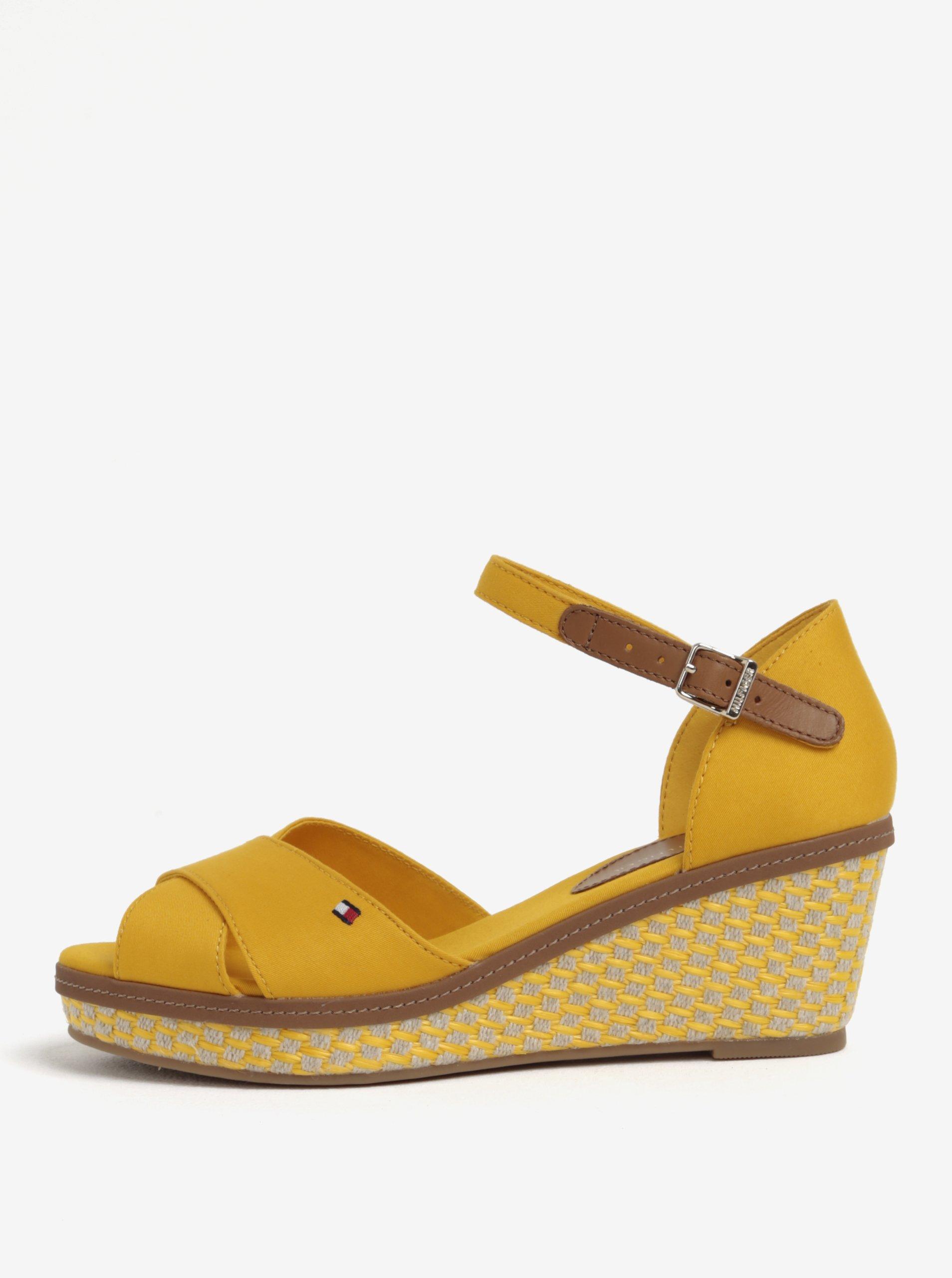 Žluté sandály na klínku Tommy Hilfiger