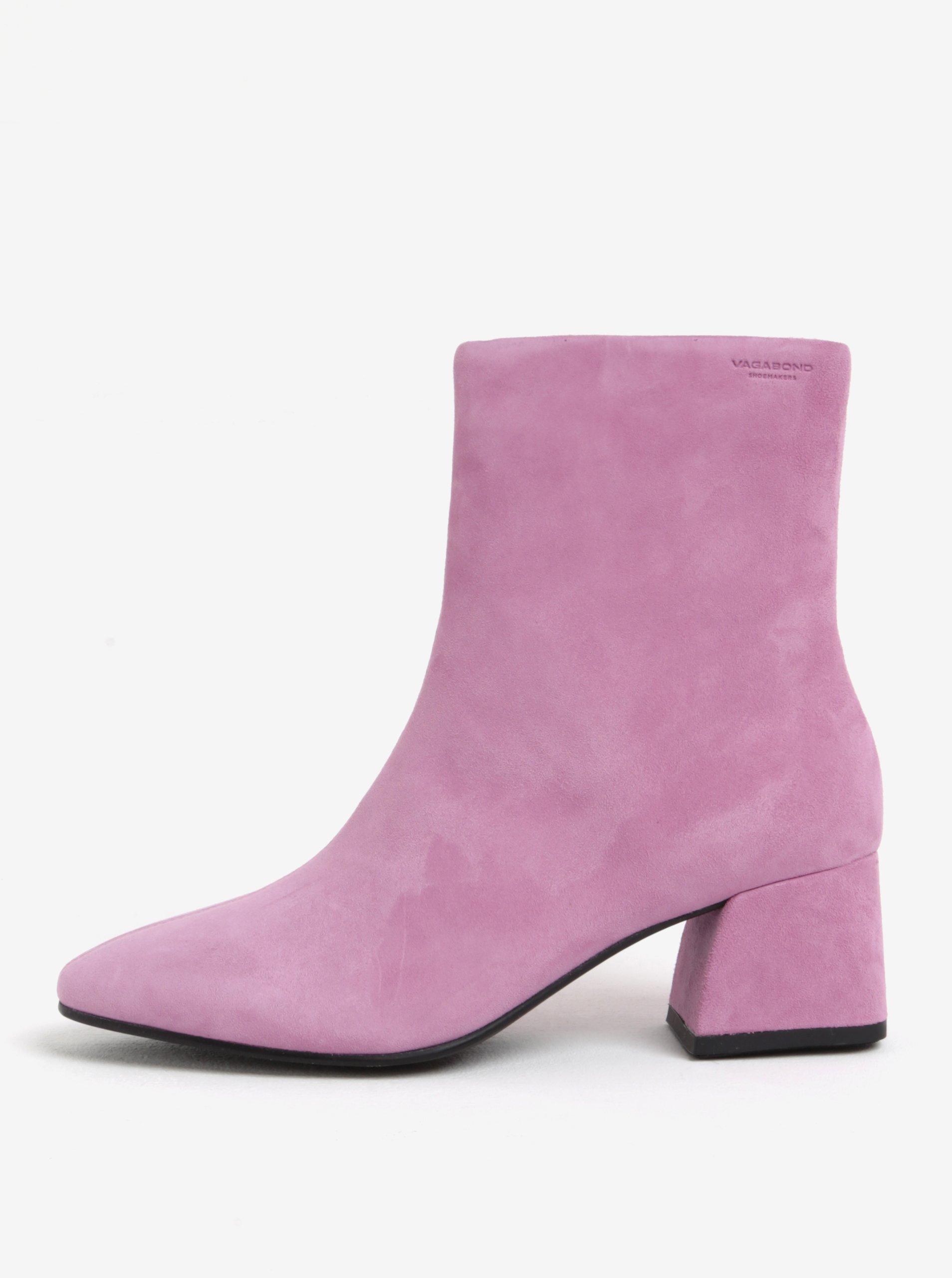 Ružové dámske semišové členkové topánky na podpätku Vagabond Alice 985d1e94c49