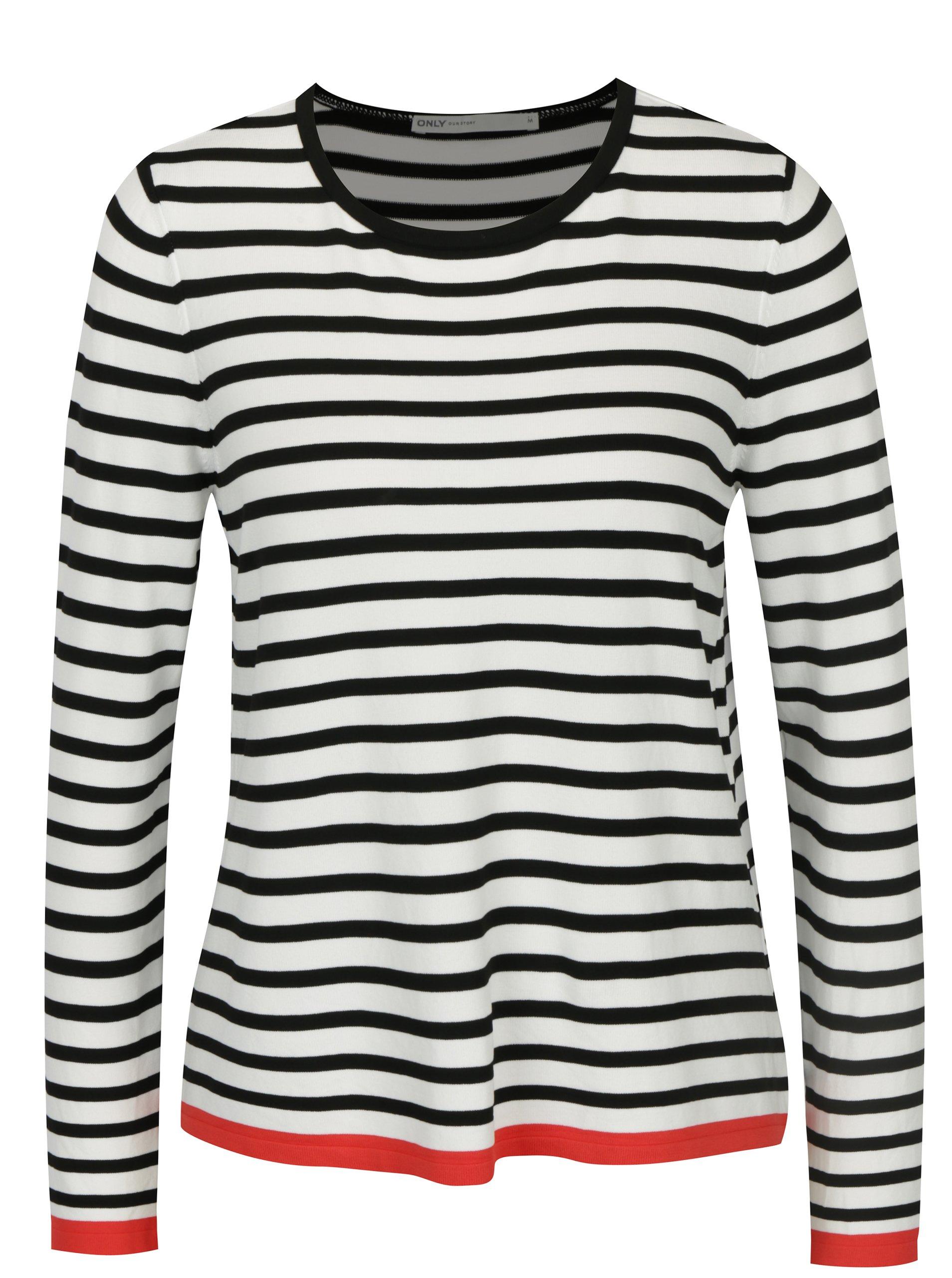 Bílo-černý pruhovaný lehký svetr ONLY Suzana