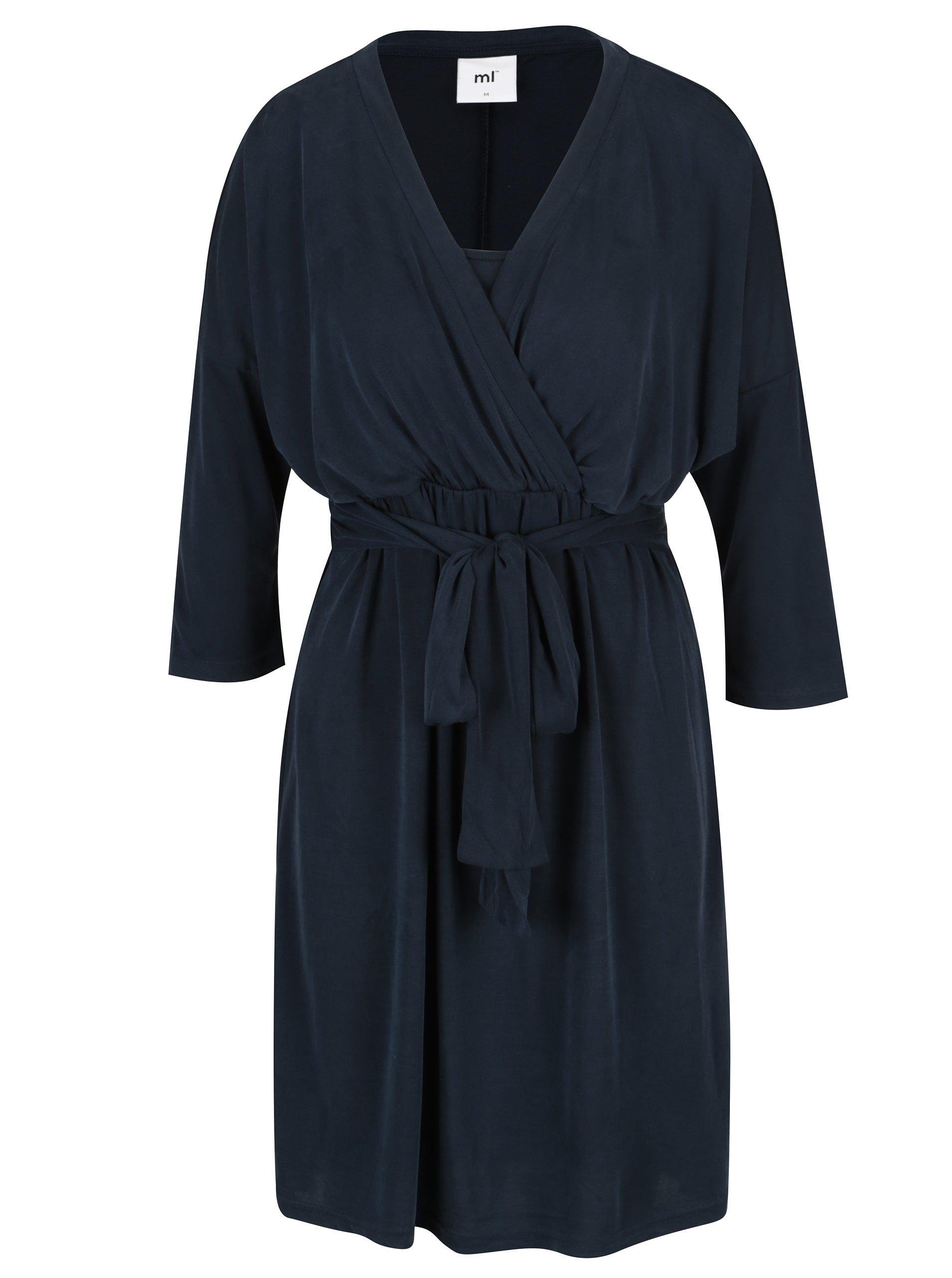 Tmavě modré kojicí šaty s páskem Mama.licious Winona