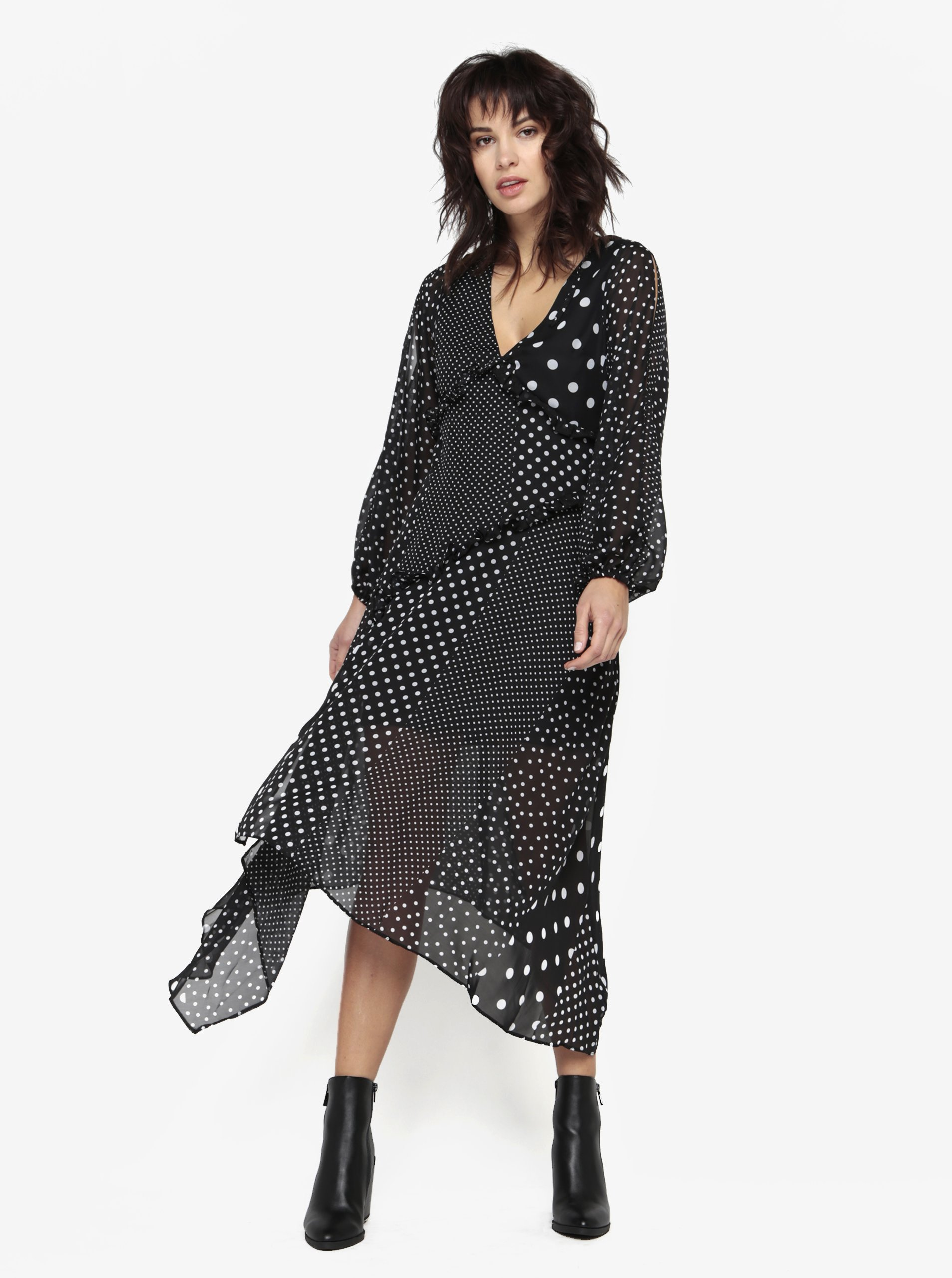 Čierne bodkované šaty s volánmi Miss Selfridge