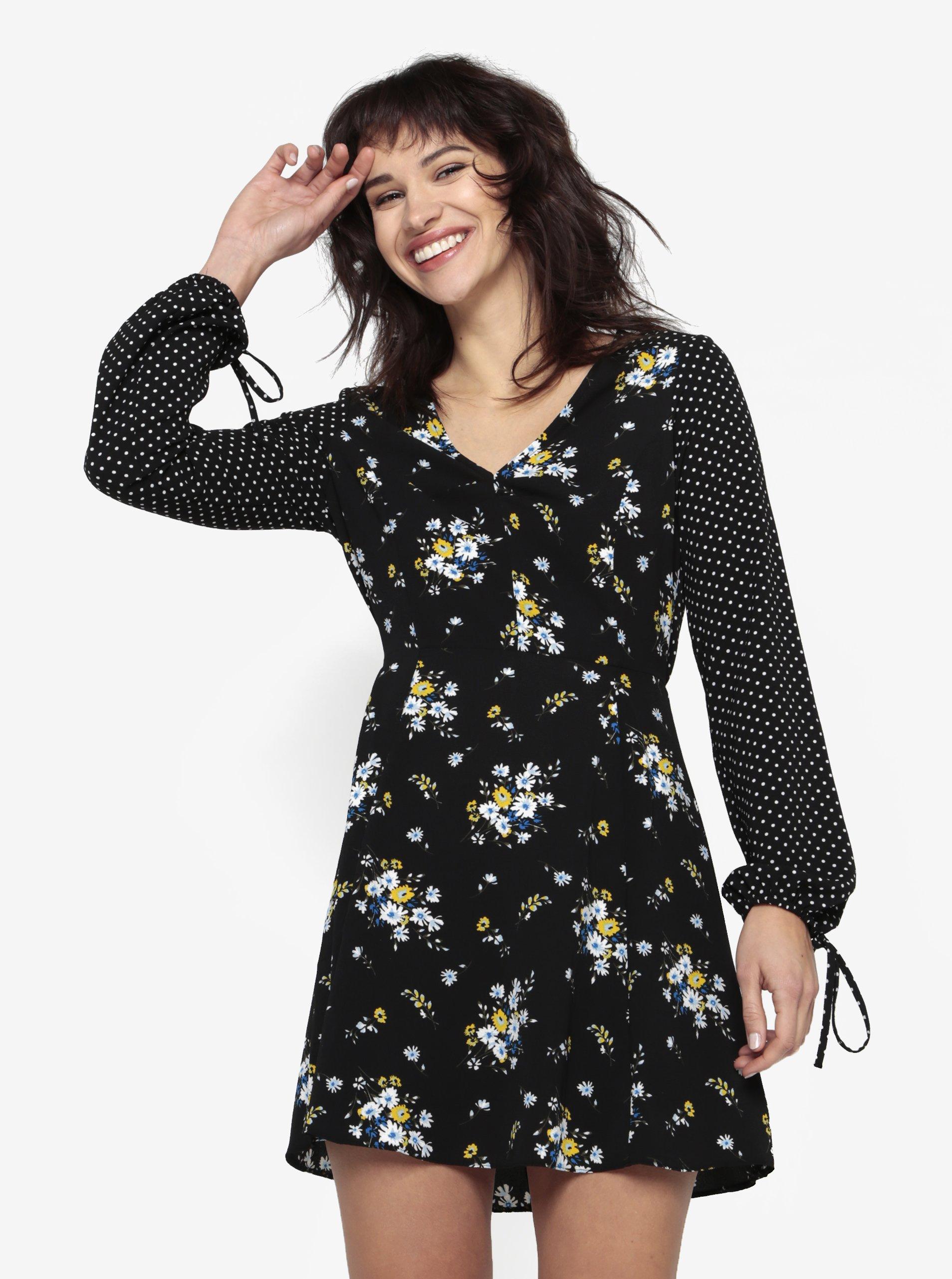 Čierne kvetované šaty s dlhým rukávom Miss Selfridge