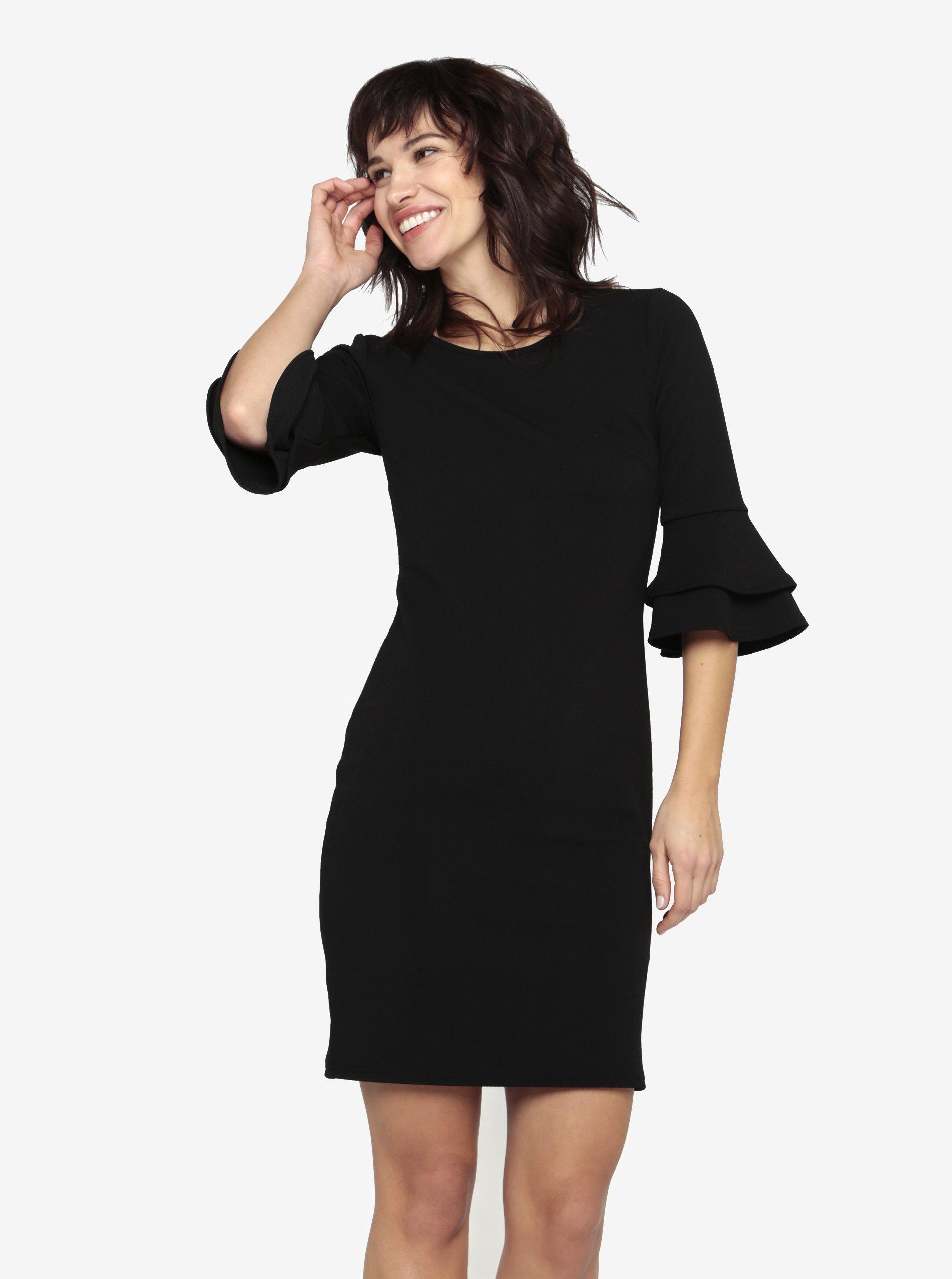 Černé pouzdrové šaty s 3 4 rukávem Dorothy Perkins - Akční cena ... 7e3758ee42