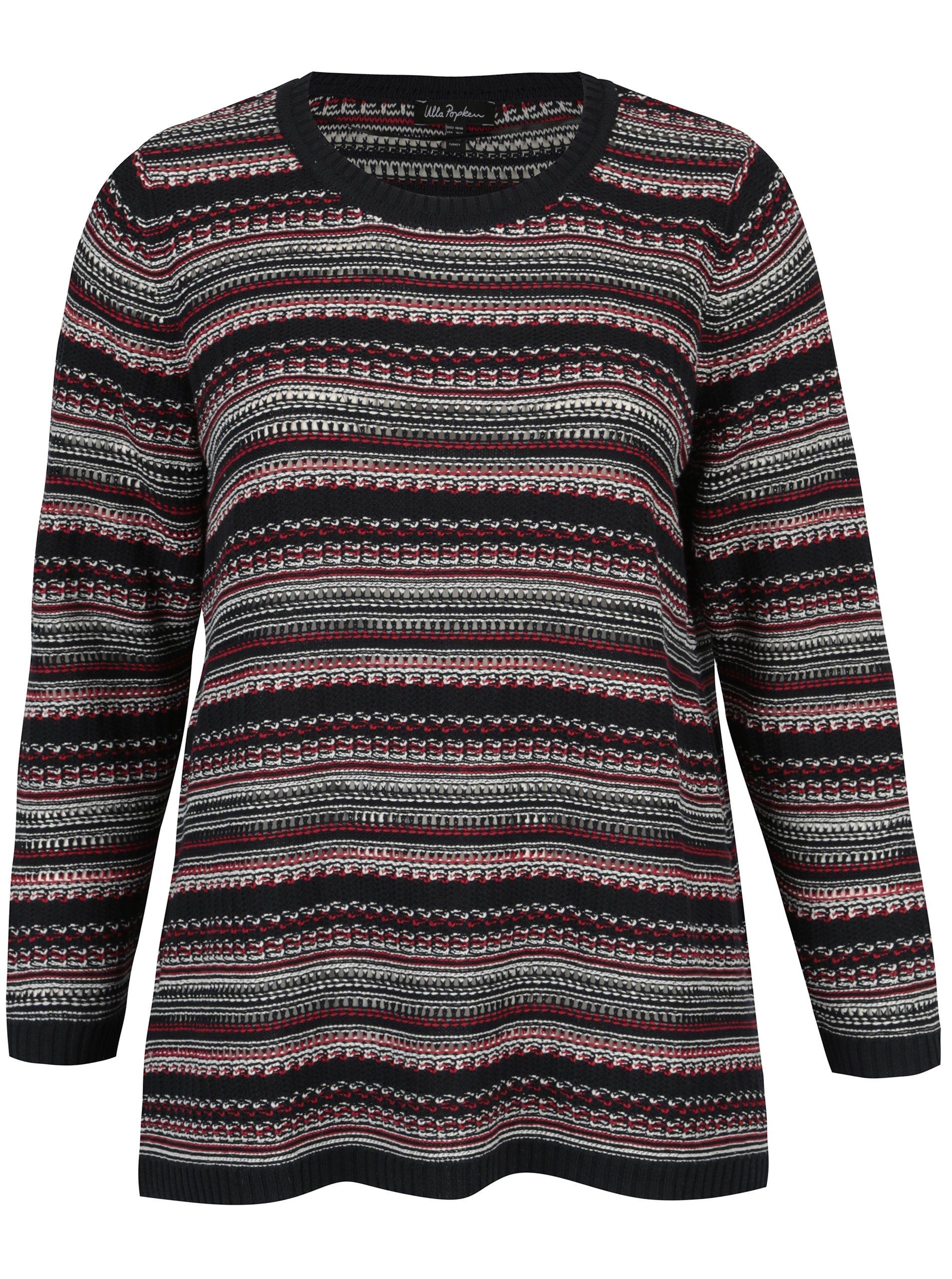 593e6d1778ce Tmavomodrý pruhovaný sveter Ulla Popken