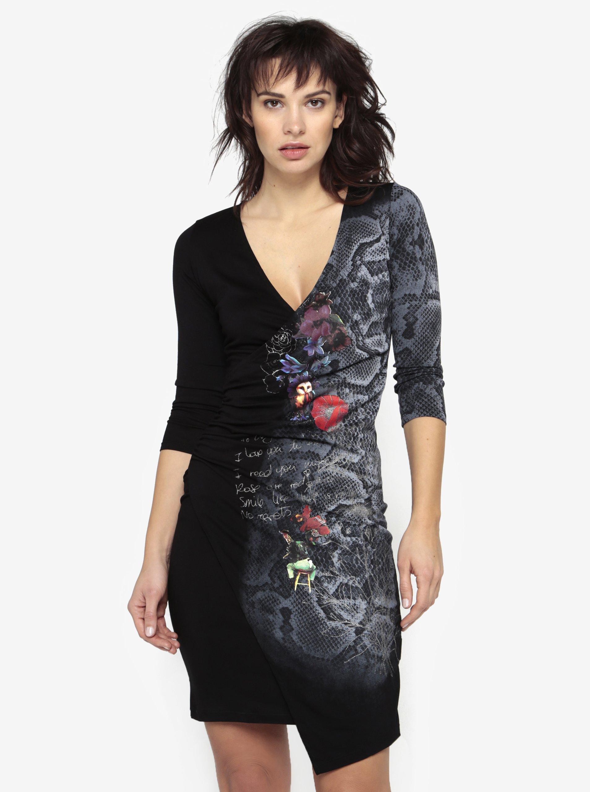 Černé překládané šaty s potiskem Desigual Next to me 7c9f09c7726