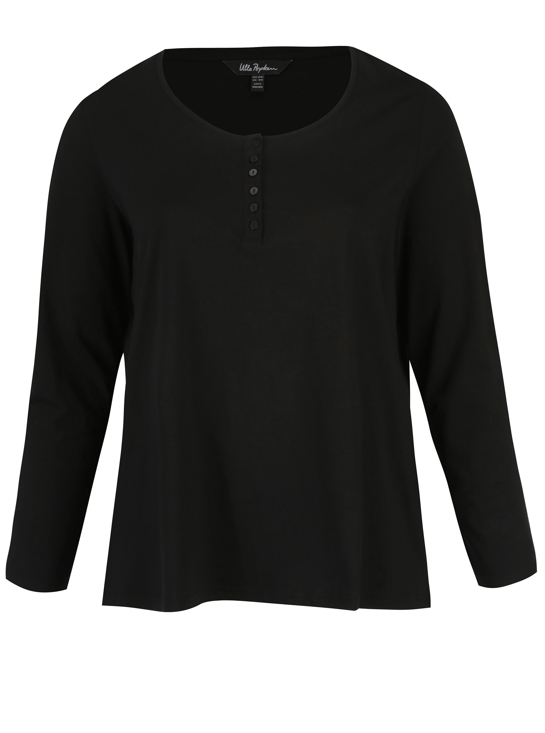 Černé tričko s dlouhým rukávem a knoflíky Ulla Popken