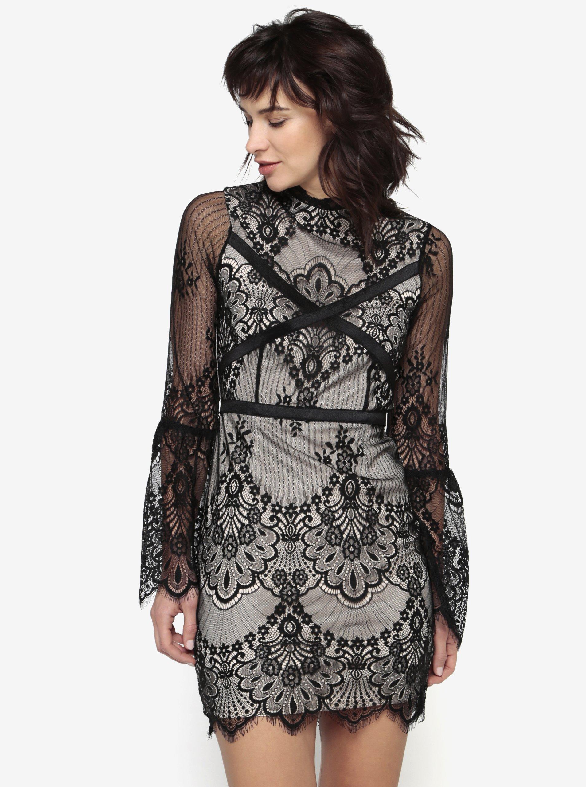 Čierno-béžové čipkované šaty MISSGUIDED f368c52333a