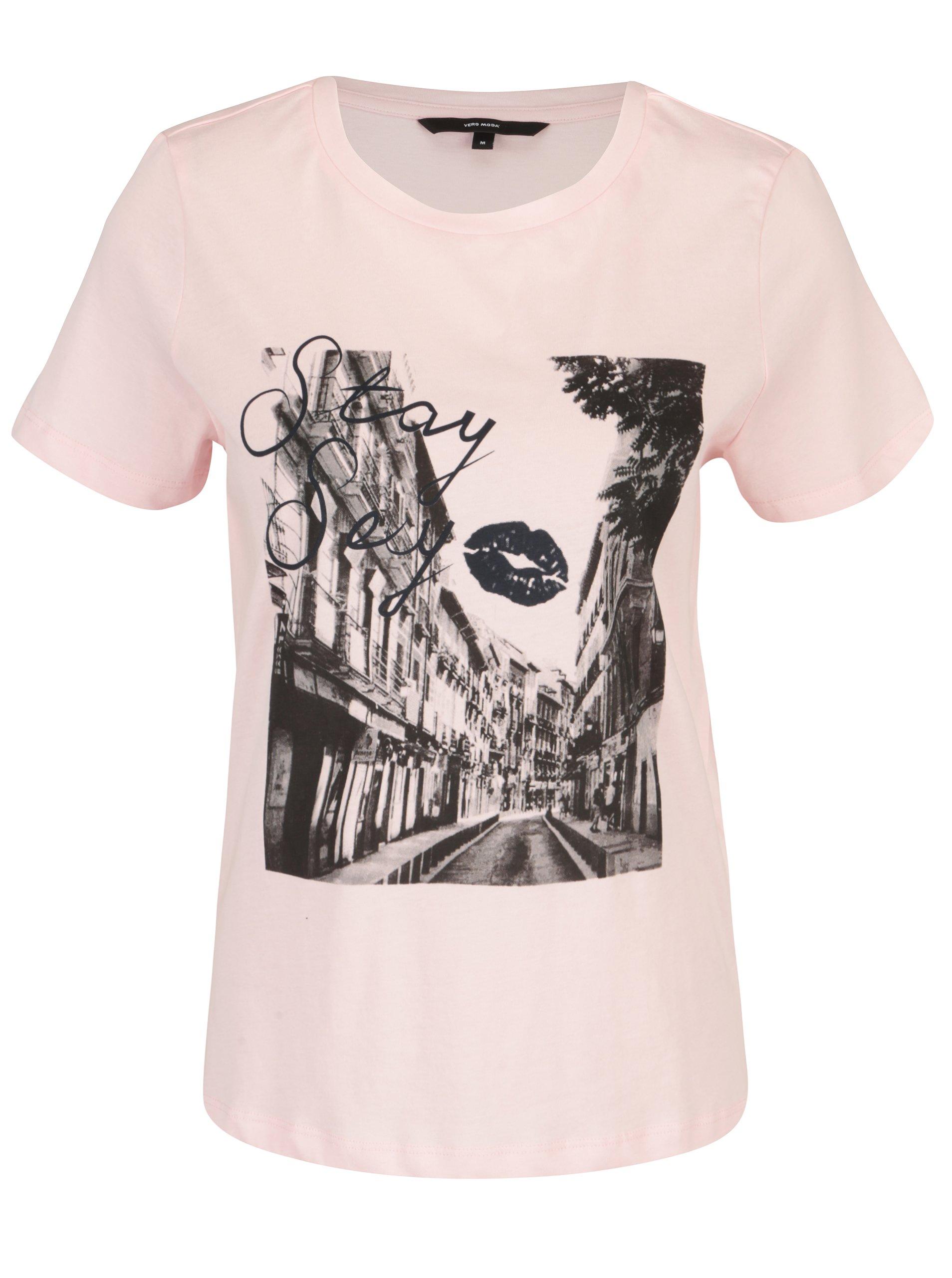 07f00b650e41 Svetloružové tričko s potlačou VERO MODA Nelik