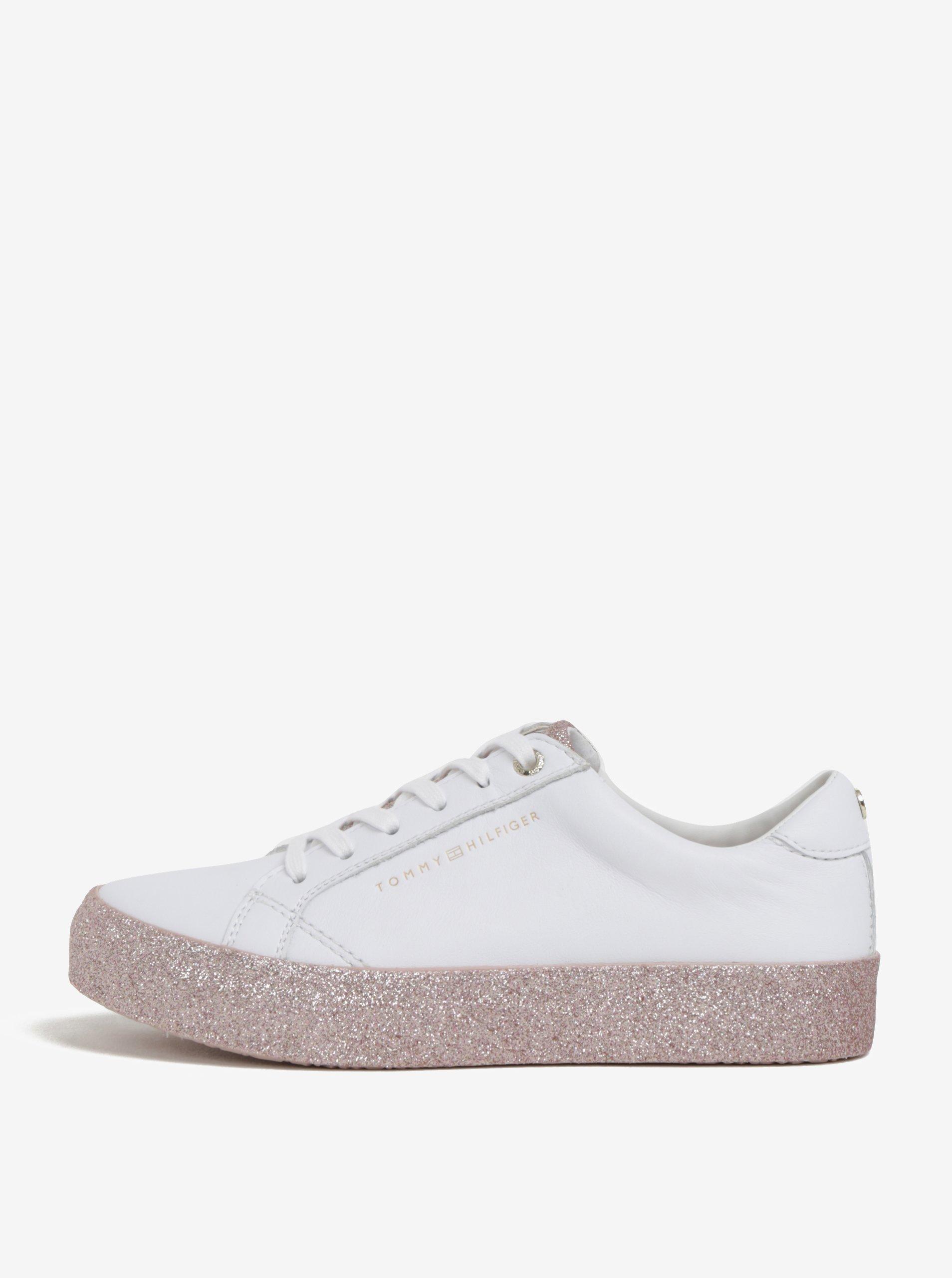 47489eb40d51 Bílé dámské kožené tenisky na třpytivé platformě Tommy Hilfiger