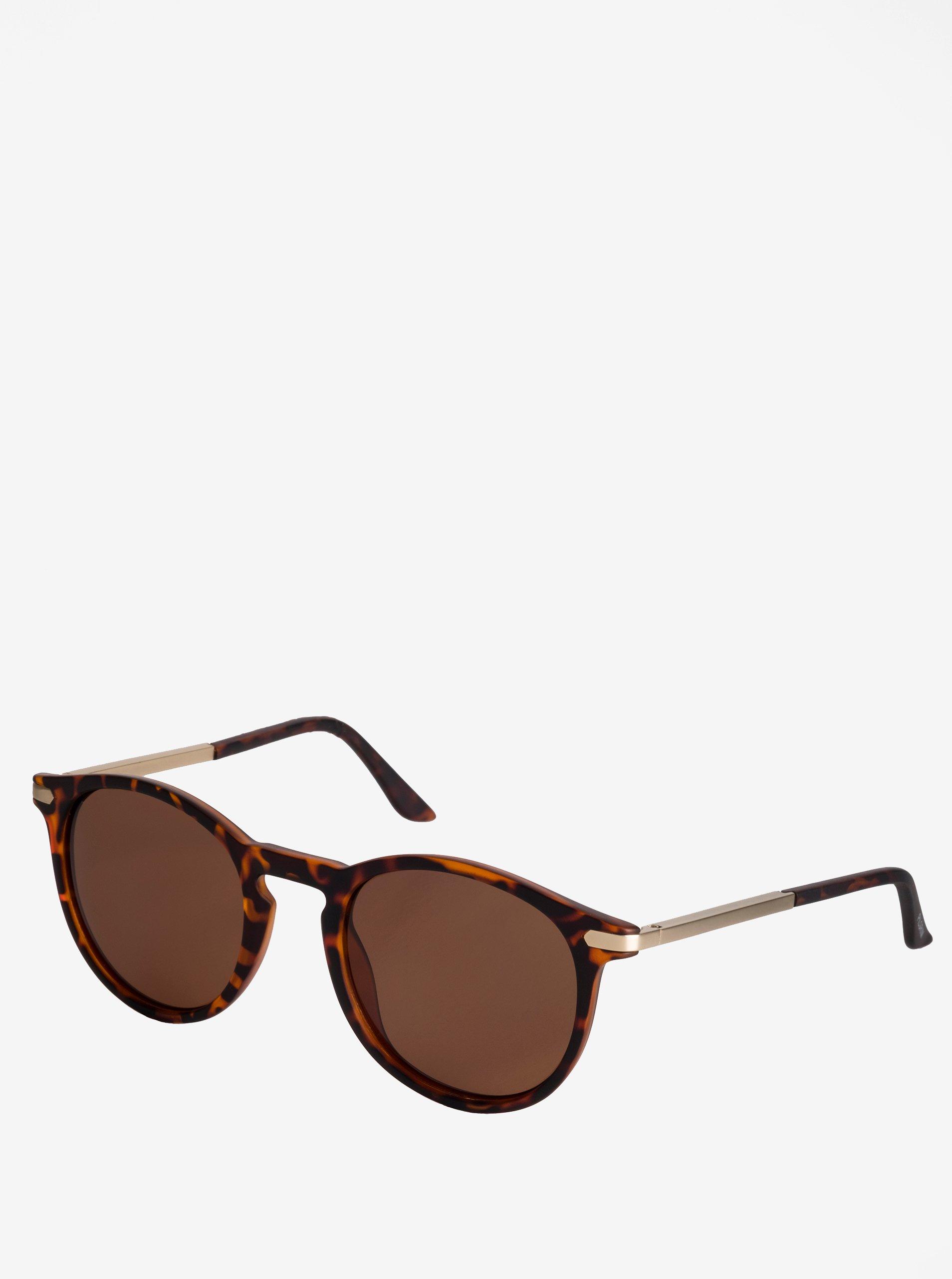 Hnědé dámské vzorované sluneční brýle s pozlacenými detaily Pilgrim Ellie