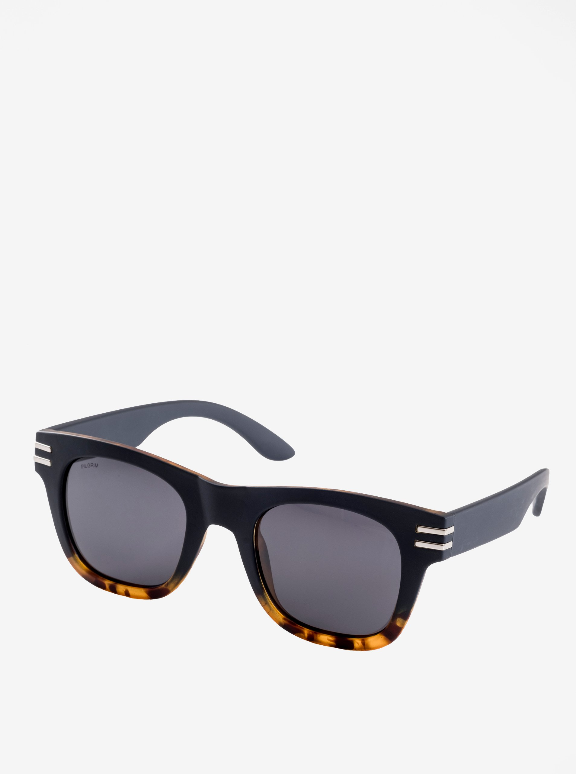 Hnedo-čierne dámske slnečné okuliare s postriebrenými detailmi Pilgrim Kennedy