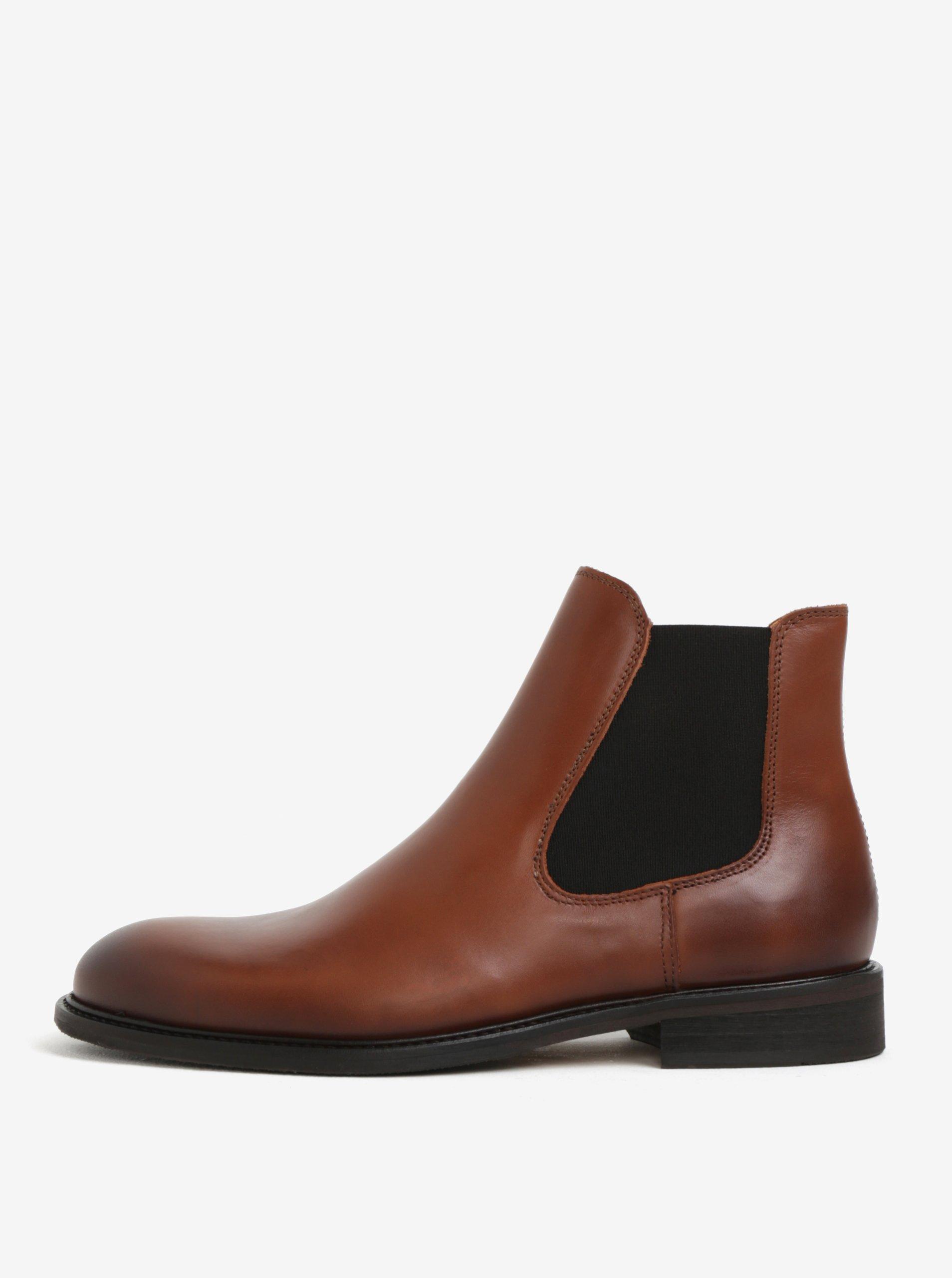 Hnědé pánské kožené chelsea boty Selected Homme Baxter