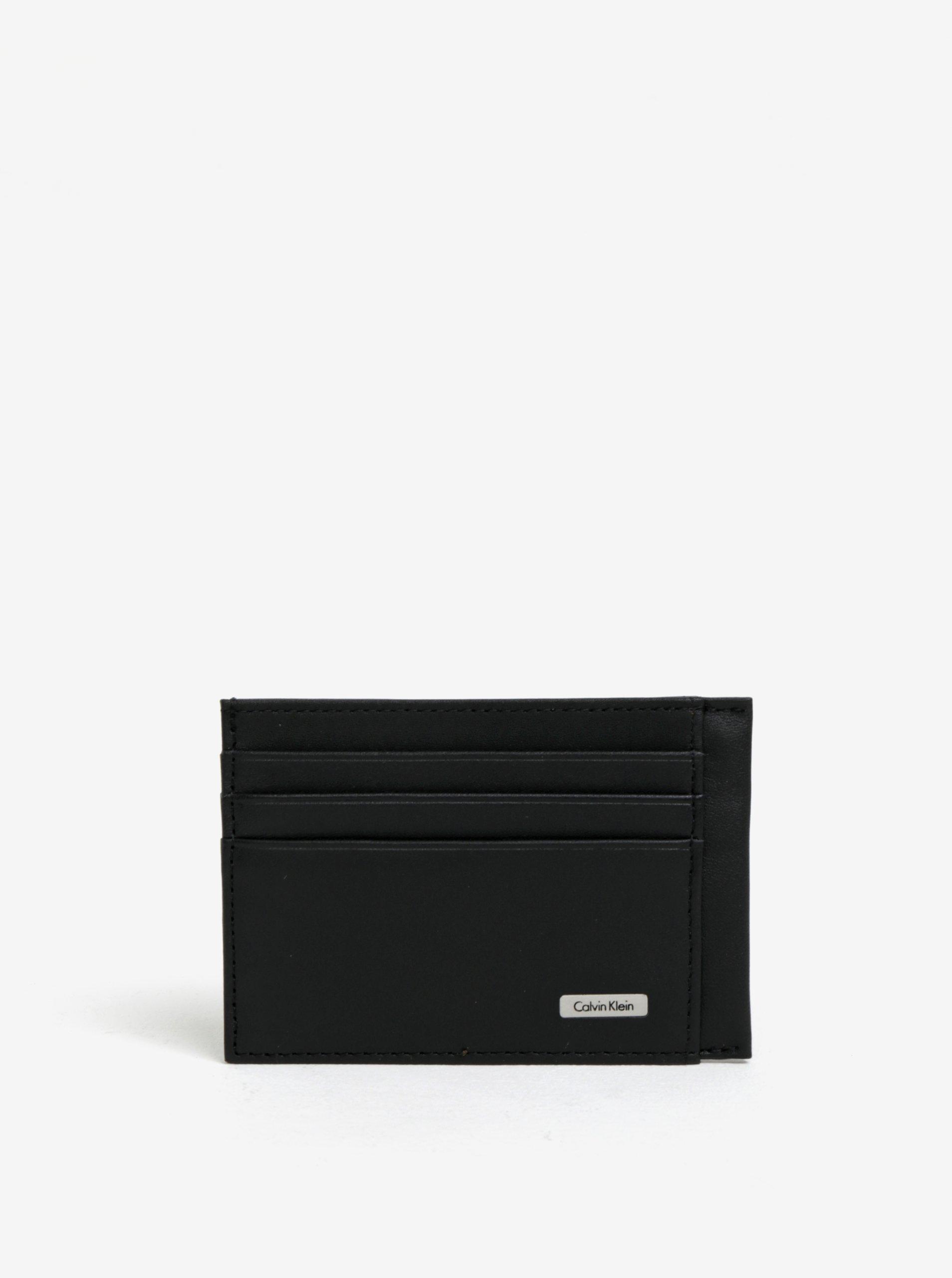 Černé unisex kožené pouzdro na karty Calvin Klein Jeans Rail