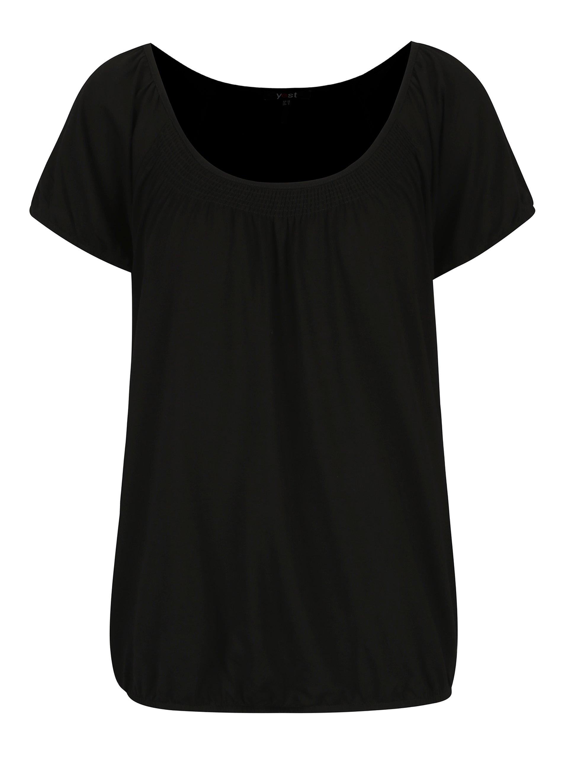 Černé tričko s kulatým výstřihem Yest