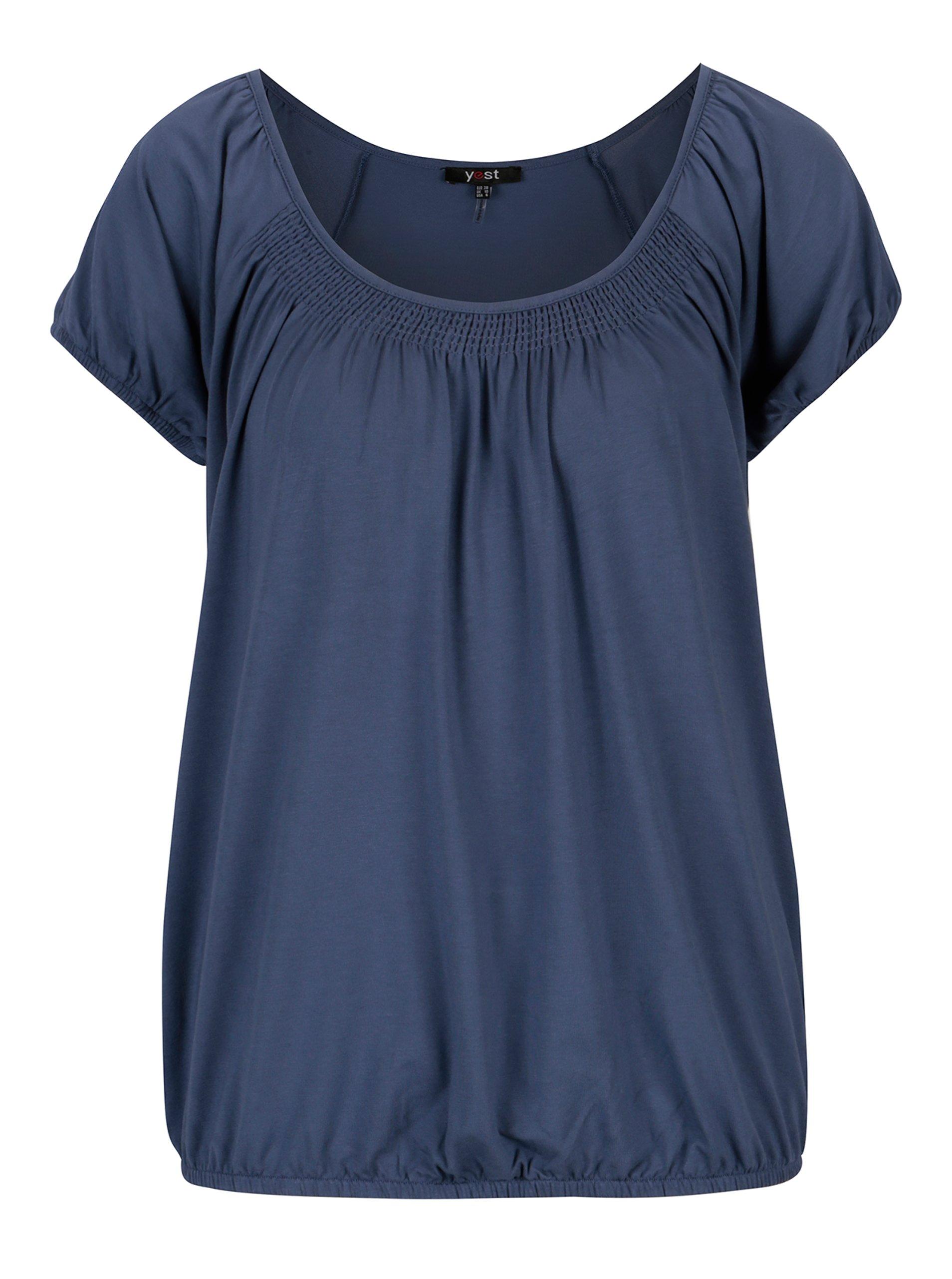 Modré tričko s kulatým výstřihem Yest