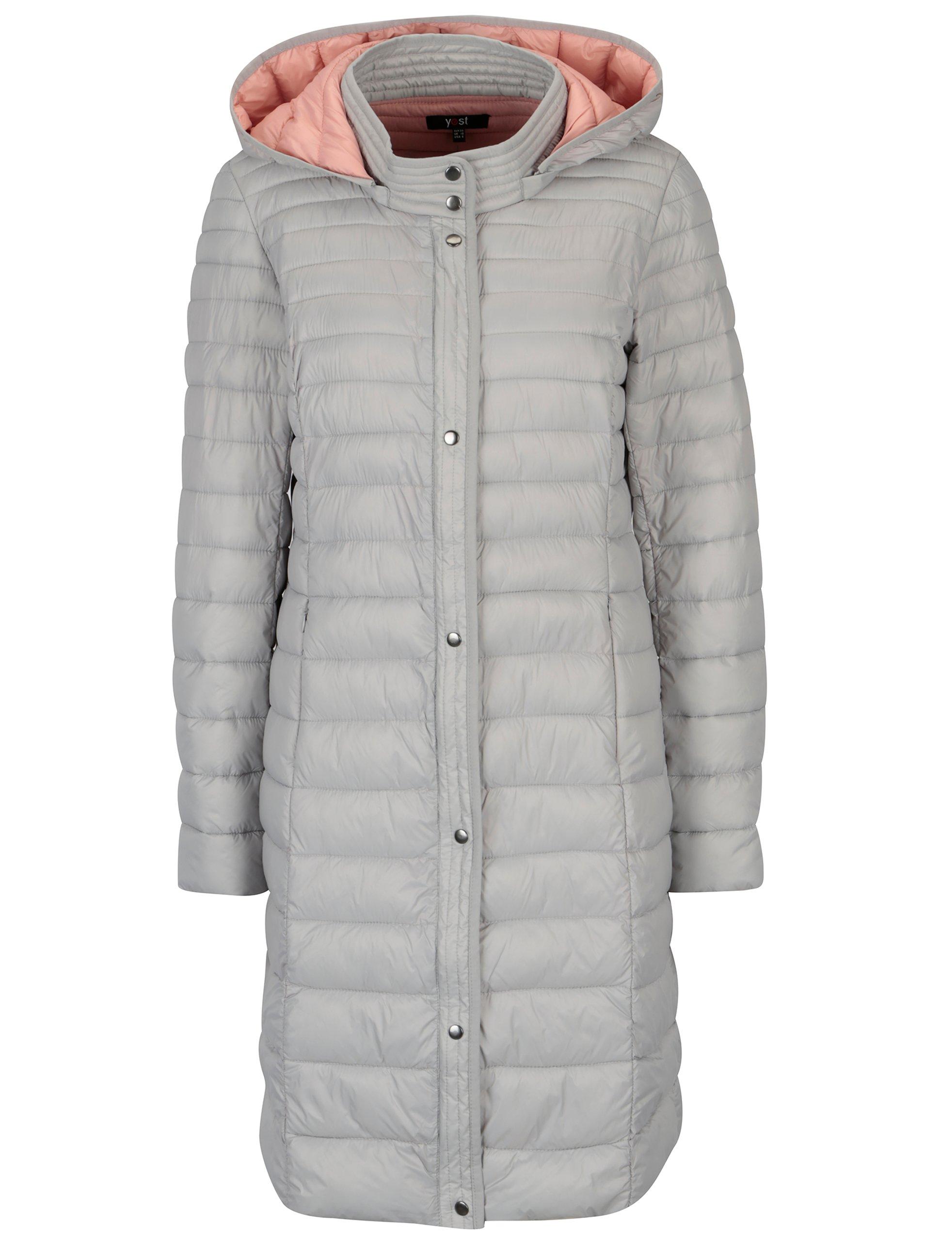 Světle šedý prošívaný kabát Yest