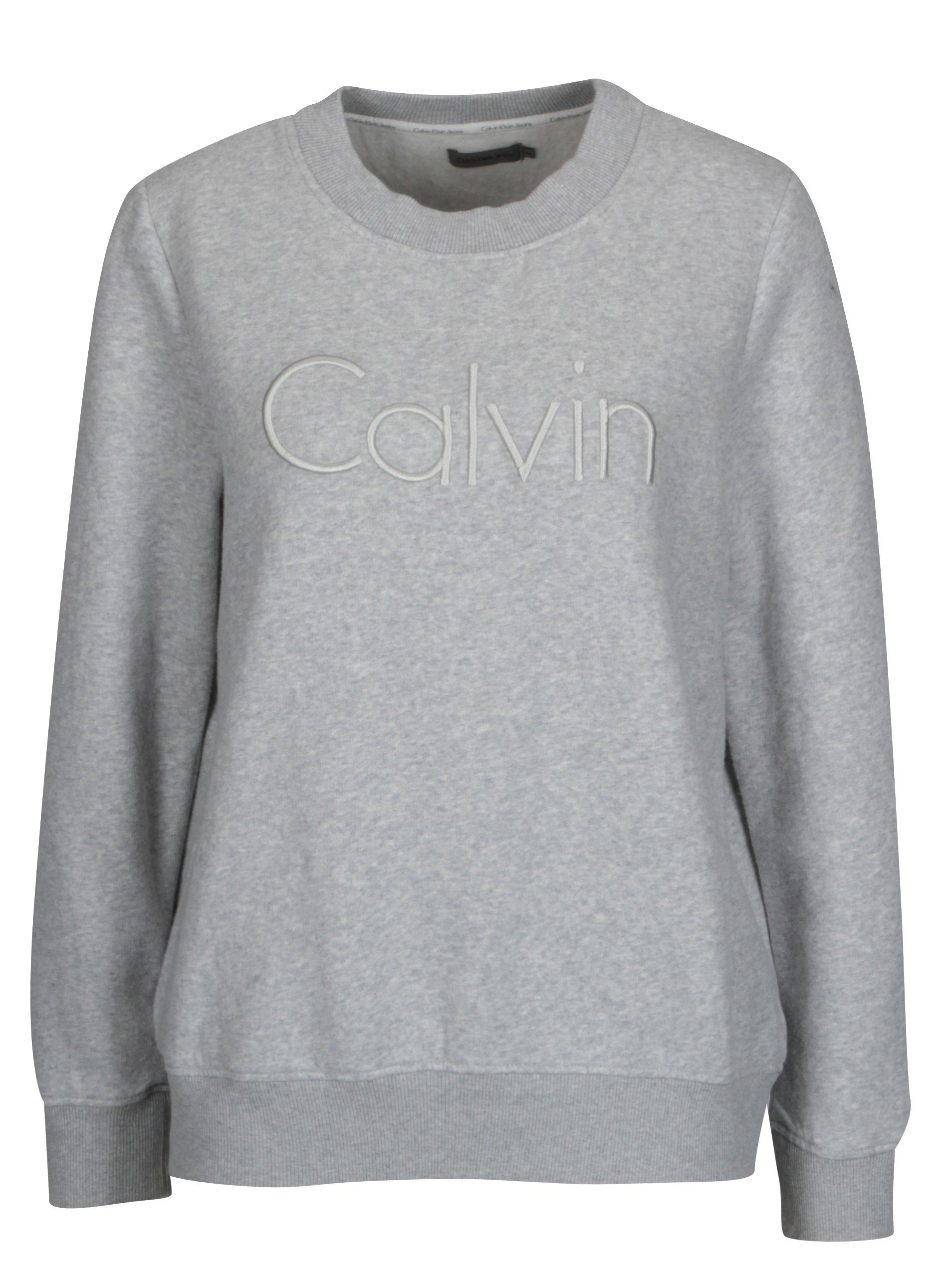 Světle šeda dámská mikina Calvin Klein Jeans Hondi