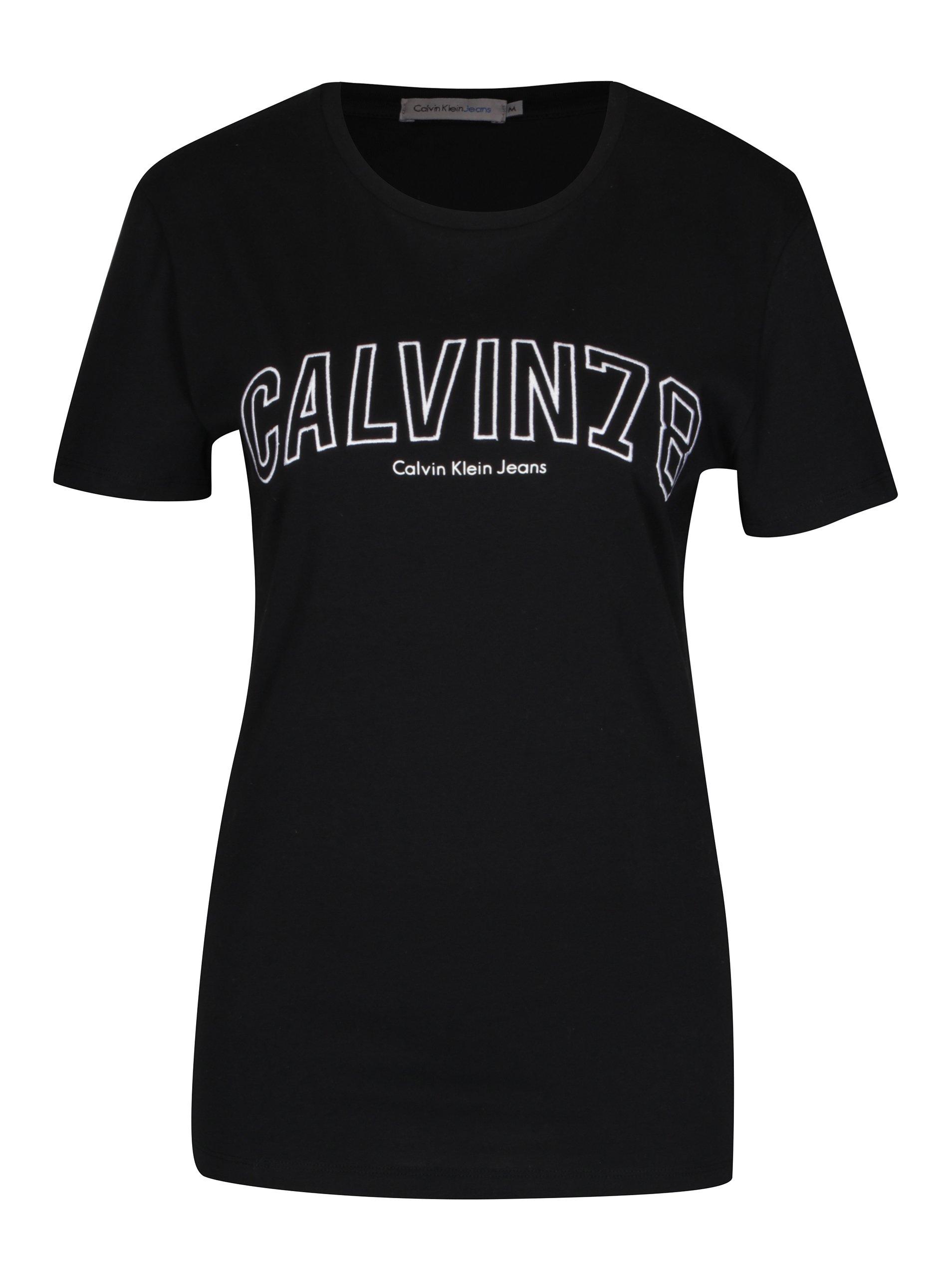 Černé dámské tričko s vyšívaným logem Calvin Klein Tanya