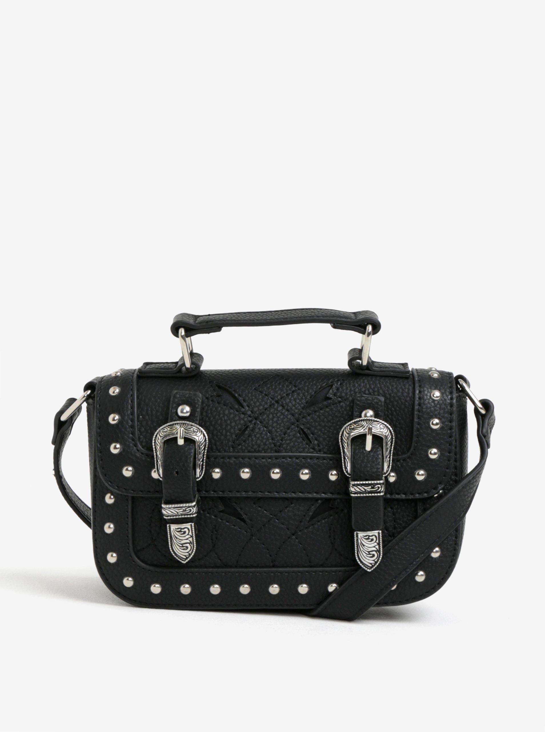 Černá crossbody kabelka s ozdobnými cvoky Miss Selfridge