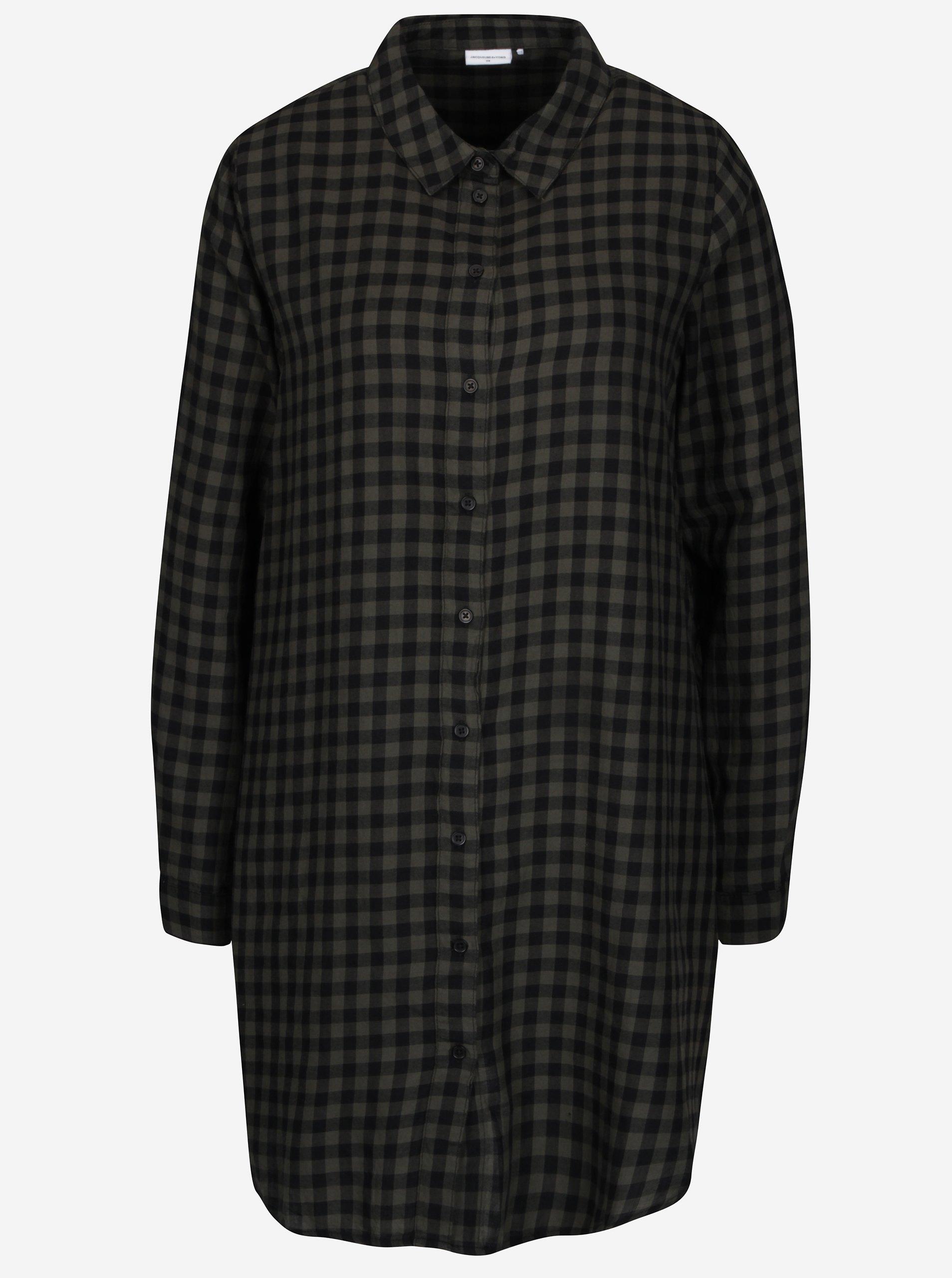 Zeleno-černé kostkované košilové šaty Jacqueline de Yong Ally