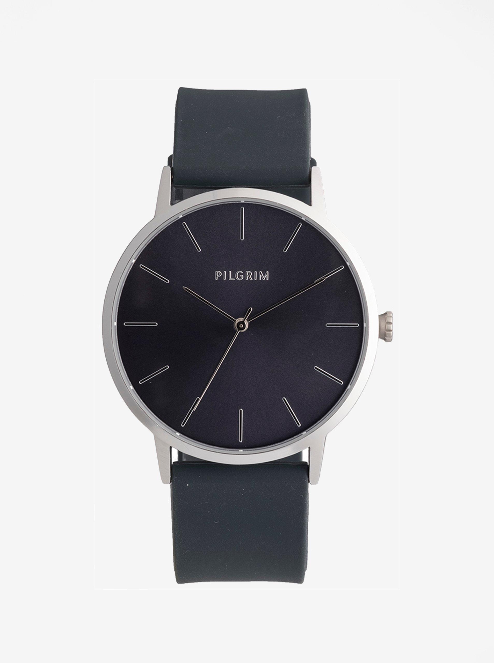Pozlátené hodinky s tmavosivým silikónovým remienkom Pilgrim Aurelia 71e6a380242